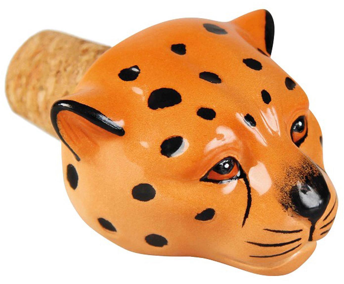 Tapón de botella Leopard, Cerámica, corcho, Naranja, negro, An 5 x Al 5 cm
