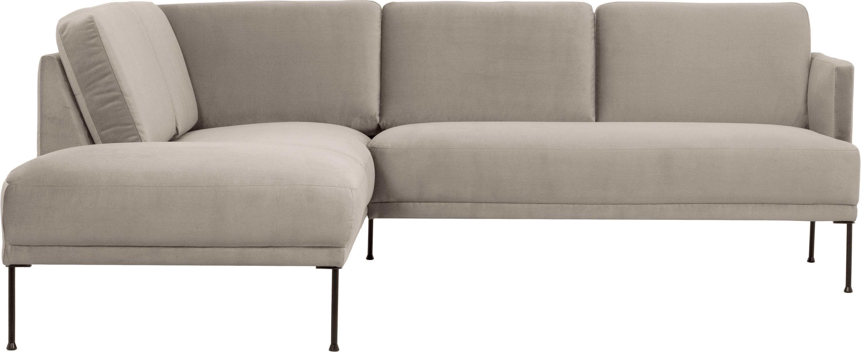 Sofa narożna z aksamitu Fluente, Tapicerka: aksamit (wysokiej jakości, Stelaż: lite drewno sosnowe, Nogi: metal malowany proszkowo, Aksamitny beżowy, S 221 x G 200 cm