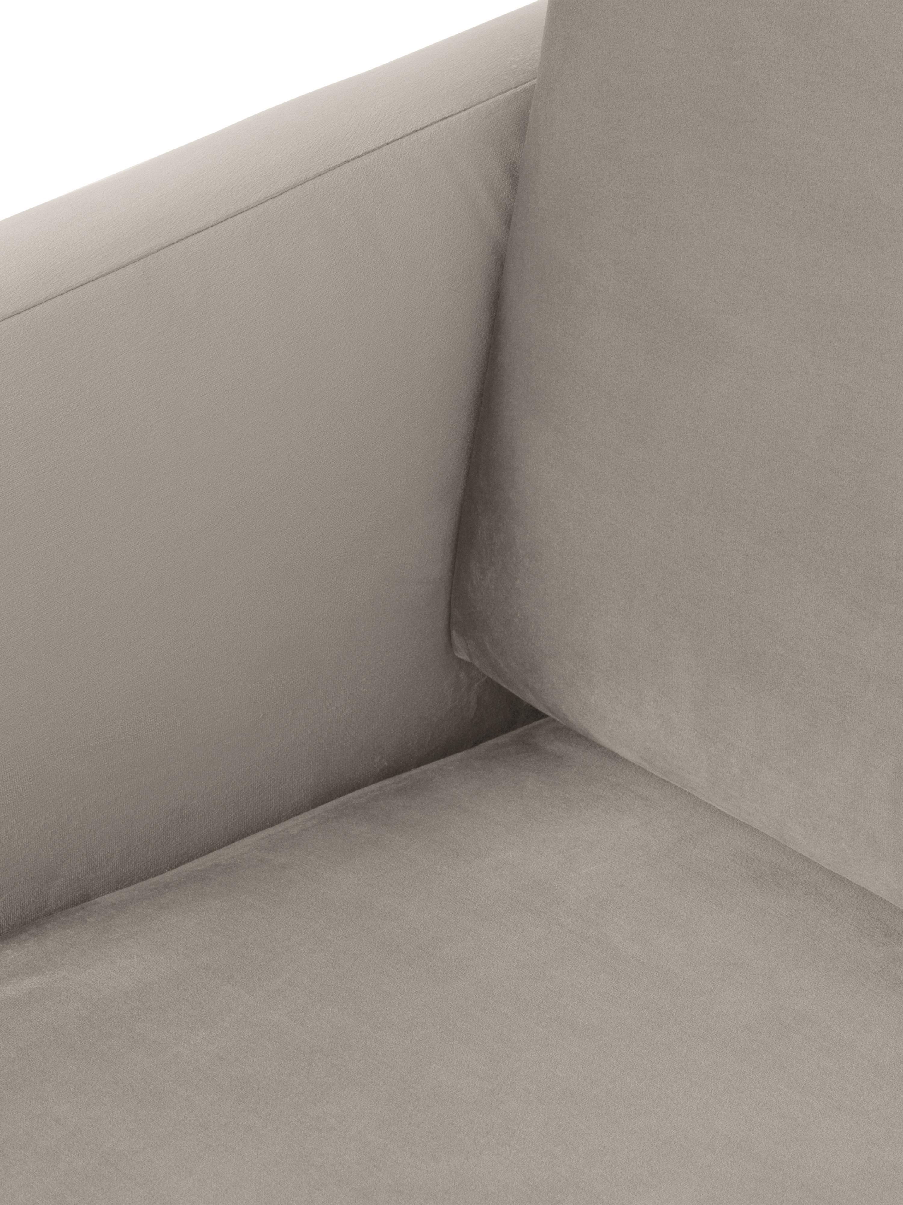 Divano angolare in velluto beige Fluente, Rivestimento: velluto (rivestimento in , Struttura: legno di pino massiccio, Piedini: metallo verniciato a polv, Velluto beige, Larg. 221 x Prof. 200 cm