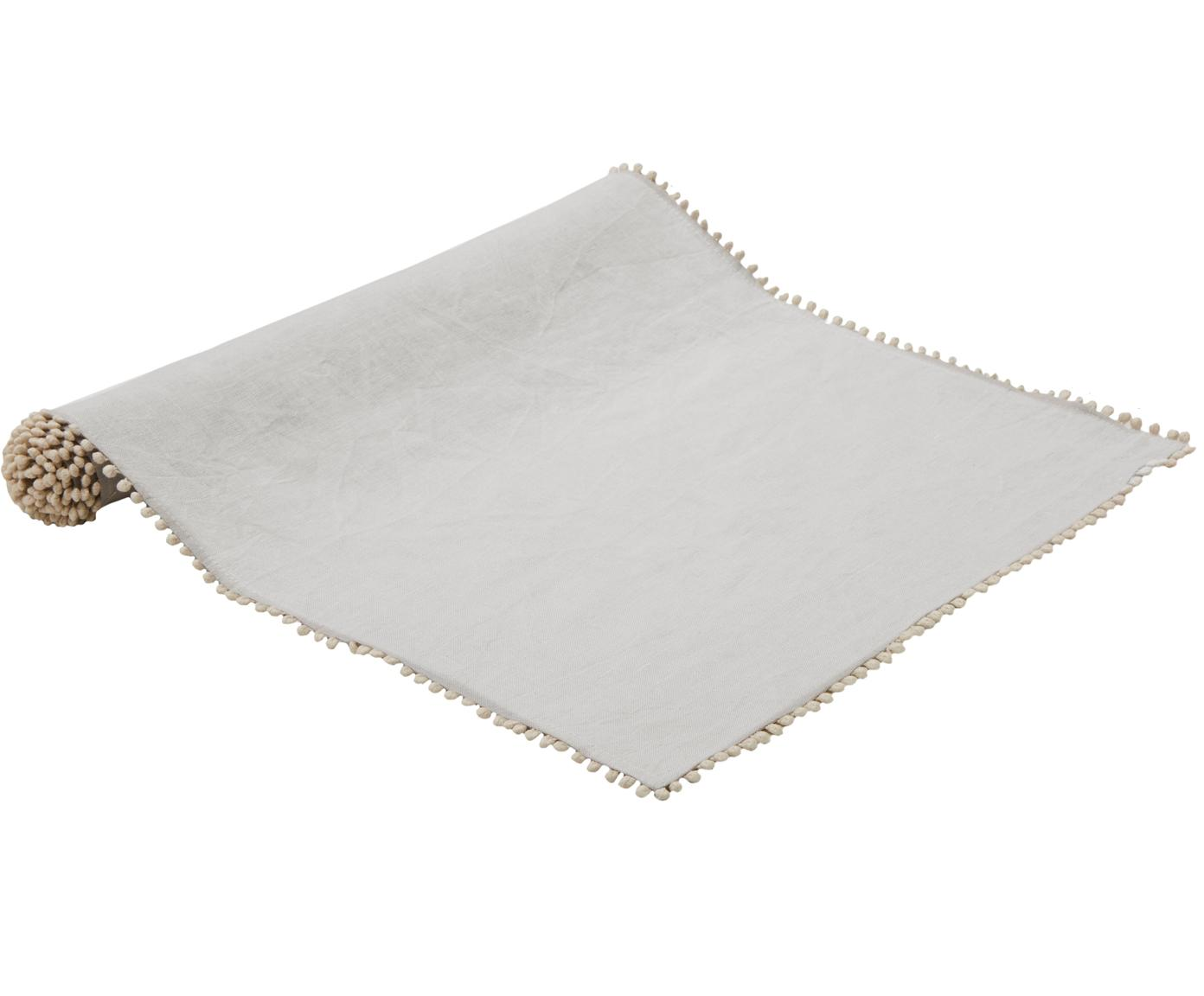 Runner da tavolo in lino Pom Pom, Lino, Grigio chiaro, Larg. 40 x Lung. 150 cm