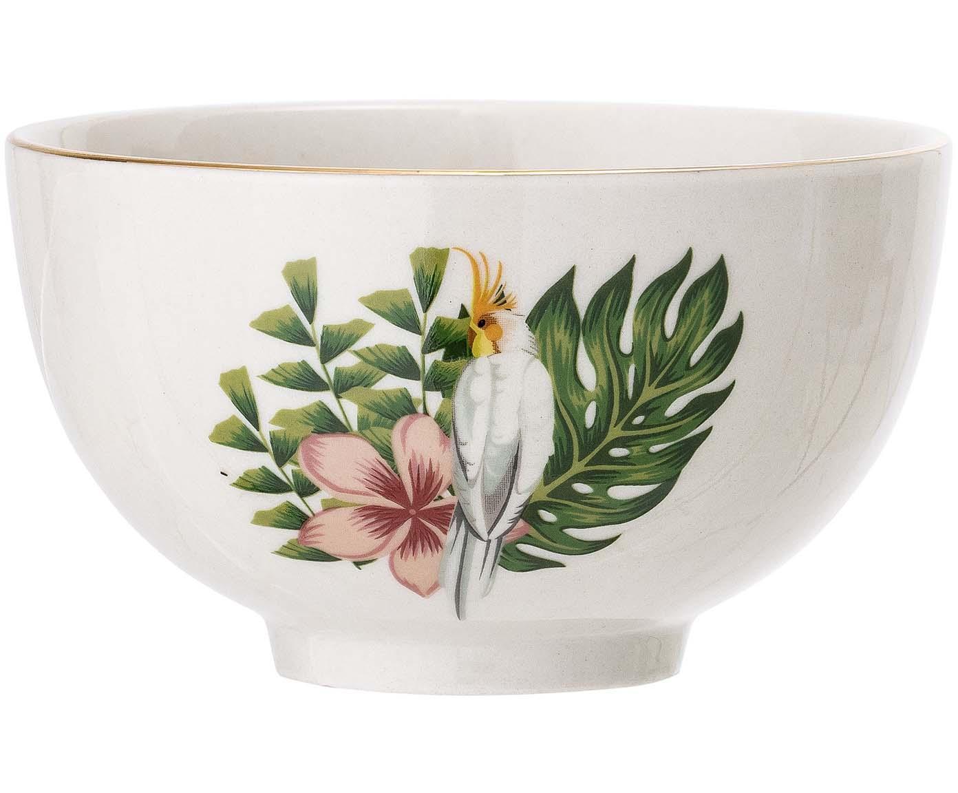 Schälchen Moana mit Goldrand und tropischem Motiv, Steingut, Weiß, Grün, Pink, Ø 12 cm