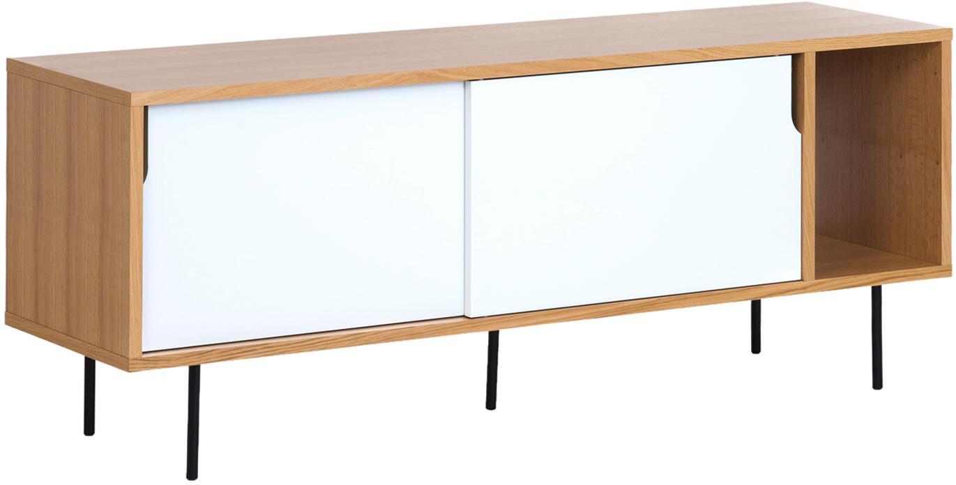 Sideboard Danny mit Schiebetüren, Oberfläche: Eichenechtholzfurnier, Korpus: Wabenkern Panel, Beine: Metall, lackiert, Weiß, Braun, Schwarz, 165 x 65 cm