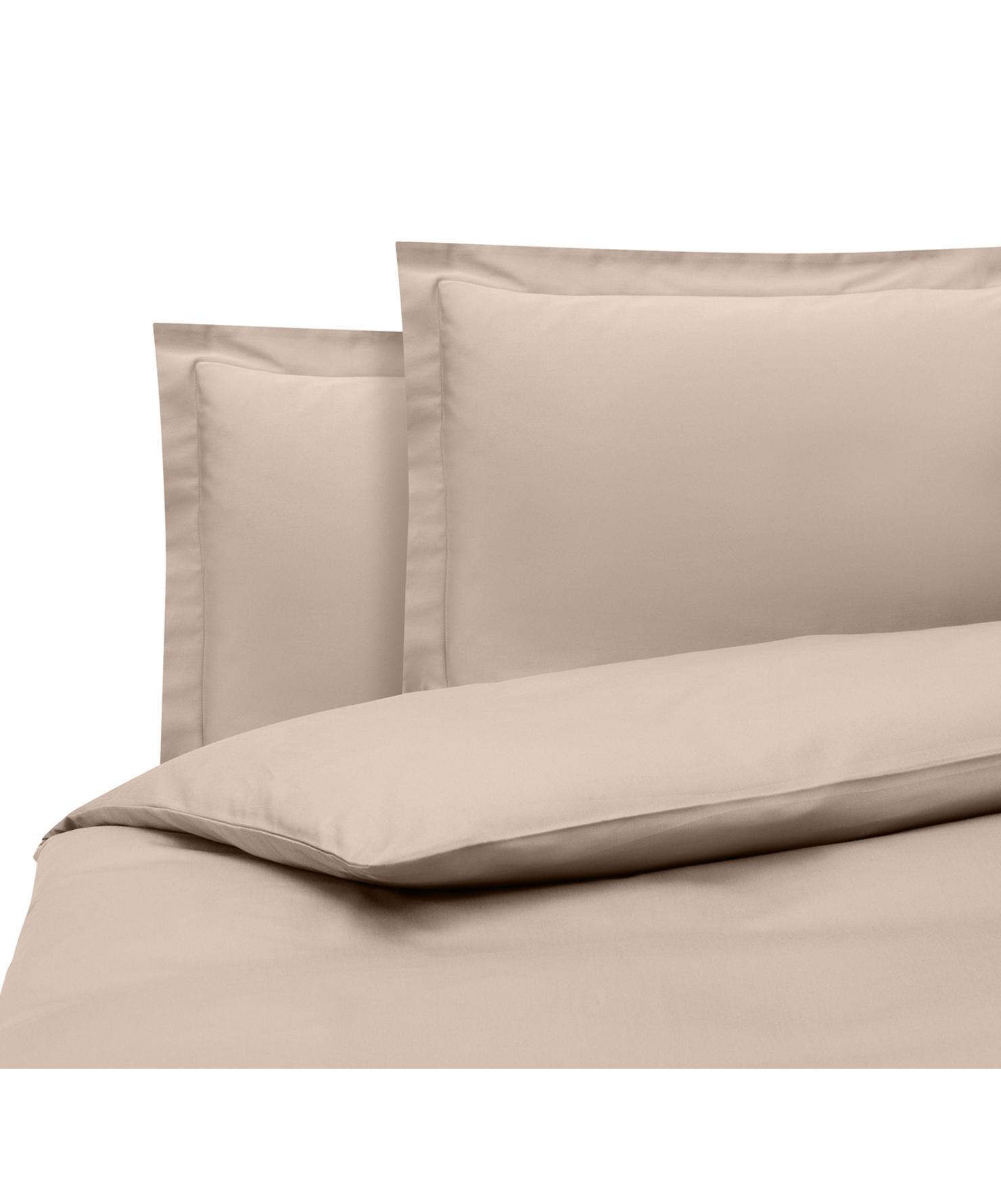 Parure copripiumino in raso di cotone taupe Premium, Tessuto: raso, leggermente lucido, Taupe, 200 x 200 cm