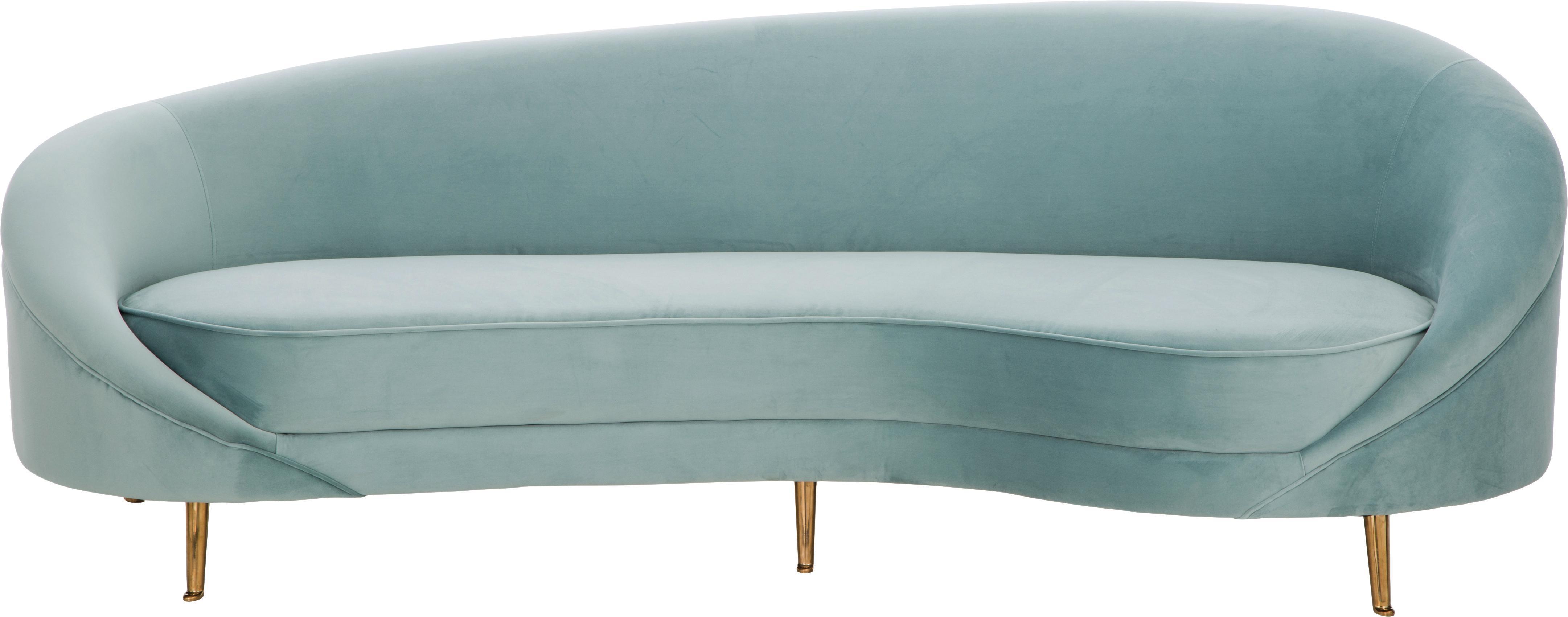 Fluwelen bank Gatsby (3-zits), Bekleding: fluweel (polyester), Frame: massief eucalyptushout, Poten: gegalvaniseerd metaal, Bekleding: turquoise. Poten: glanzend goudkleurig, B 245 x D 102 cm