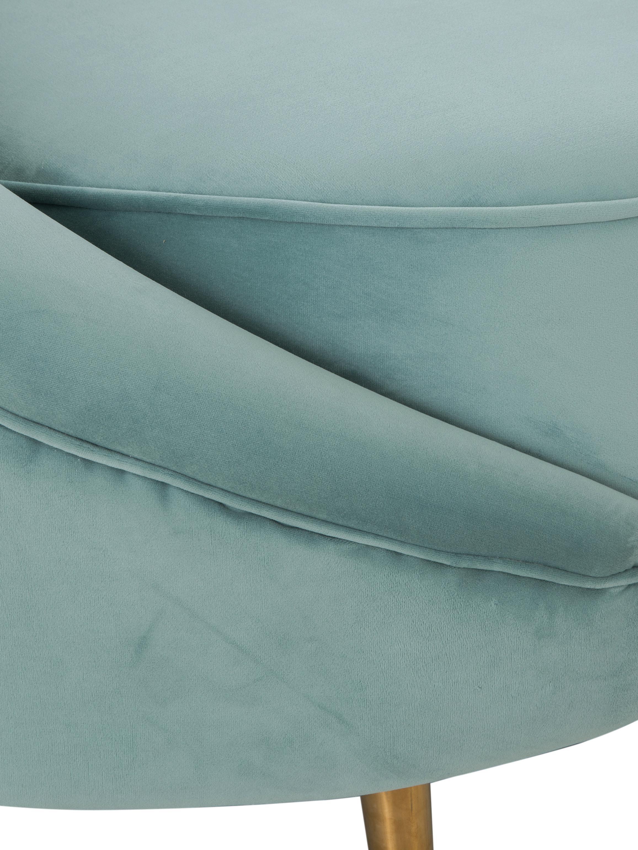 Divano 3 posti in velluto turchese Gatsby, Rivestimento: velluto (poliestere) 25.0, Struttura: legno di eucalipto massic, Piedini: metallo, zincato, Velluto turchese, Larg. 245 x Prof. 102 cm