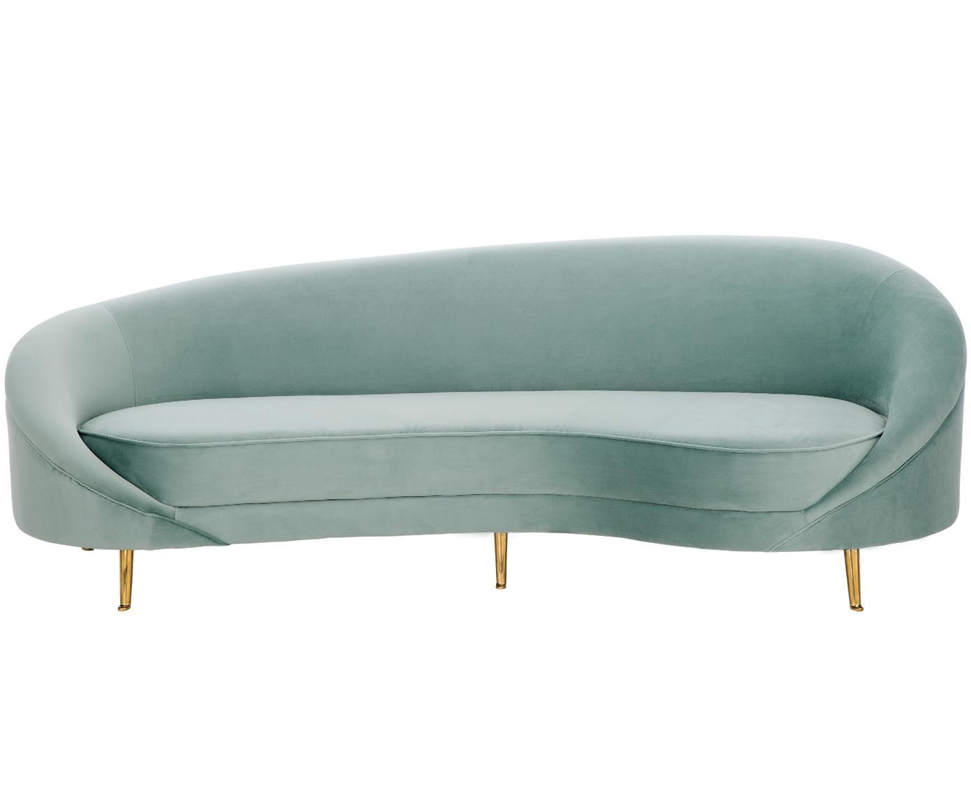 Sofa z aksamitu w kształcie nerki Gatsby (3-osobowa), Tapicerka: aksamit (poliester) 2500, Stelaż: lite drewno eukaliptusowe, Tapicerka: pianka na zawieszeniu spr, Nogi: metal galwanizowany, Aksamitny turkusowy, S 245 x G 102 cm