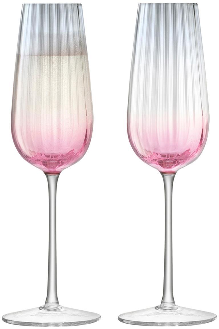 Copas flauta de champán artesanales Dusk, 2uds., Vidrio, Rosa, gris, Ø 6 x Al 23 cm