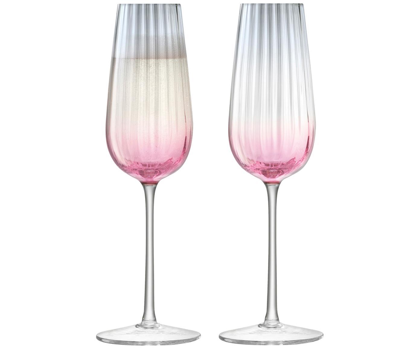 Handgemaakte champagneglazen Dusk met kleurverloop, 2 stuks, Glas, Roze, grijs, Ø 23 x H 6 cm