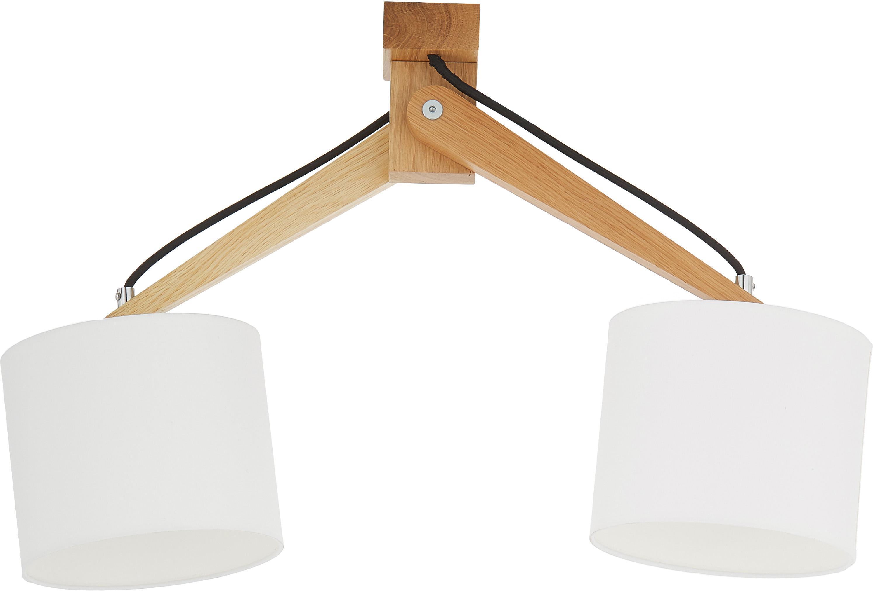 Deckenleuchte Donna aus Holz, Weiß, 50 x 36 cm