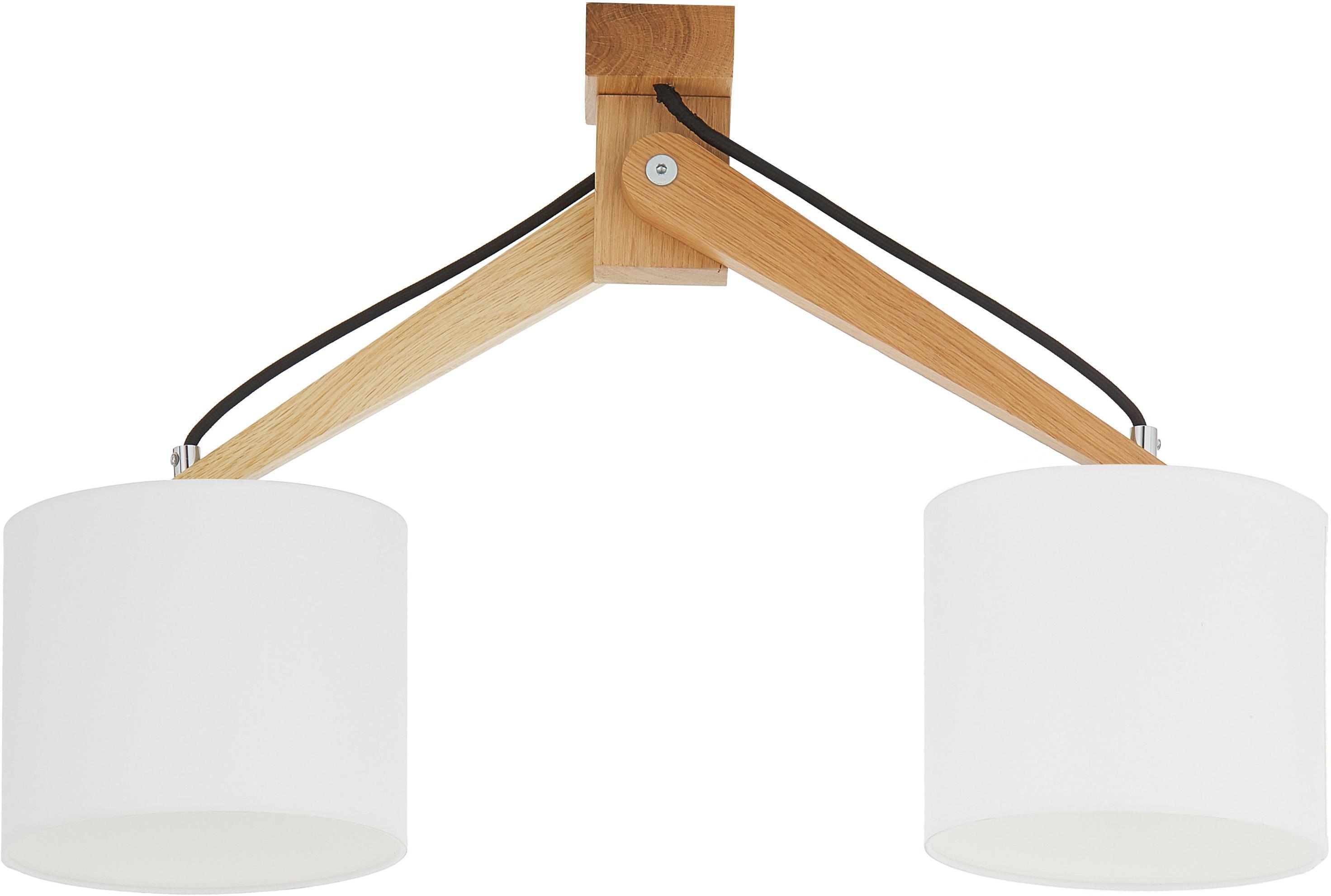 Faretti da soffitto in legno Donna, Paralume: materiale sintetico, Bianco, Larg. 50 x Alt. 36 cm
