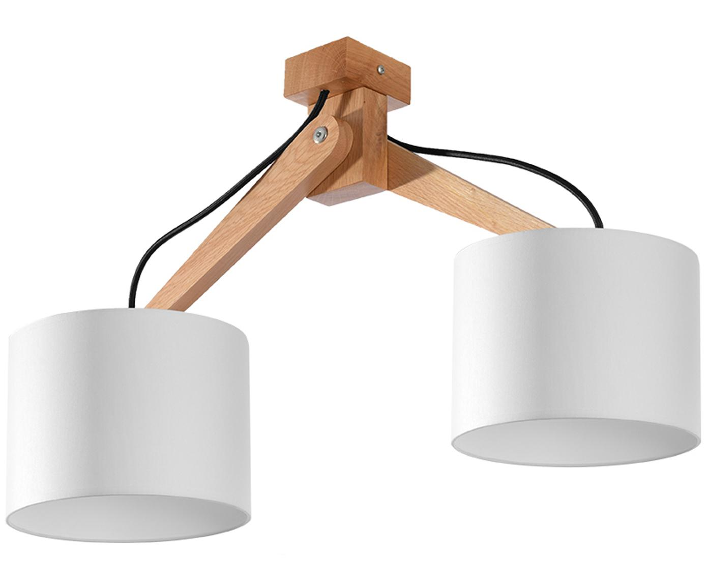 Lampa sufitowa z drewna Donna, Biały, S 50 x W 36 cm