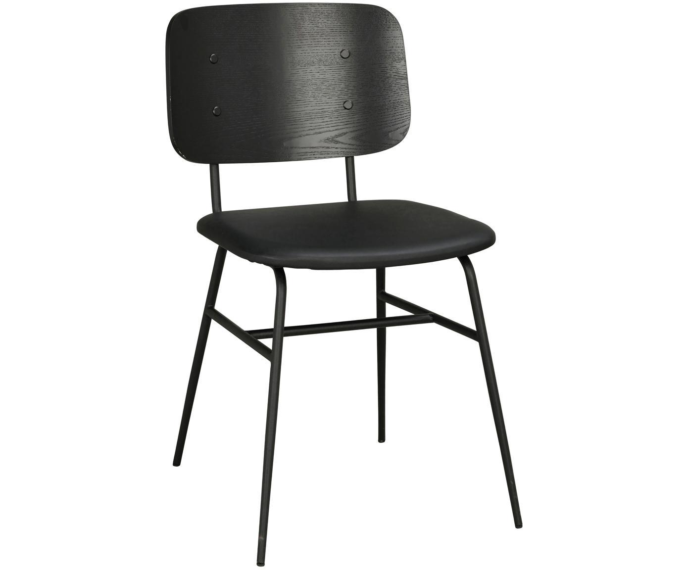 Silla de madera Brent, Asiento: cuero sintético (poliuret, Estructura: metal, pintado, Negro mate, An 47 x F 57 cm