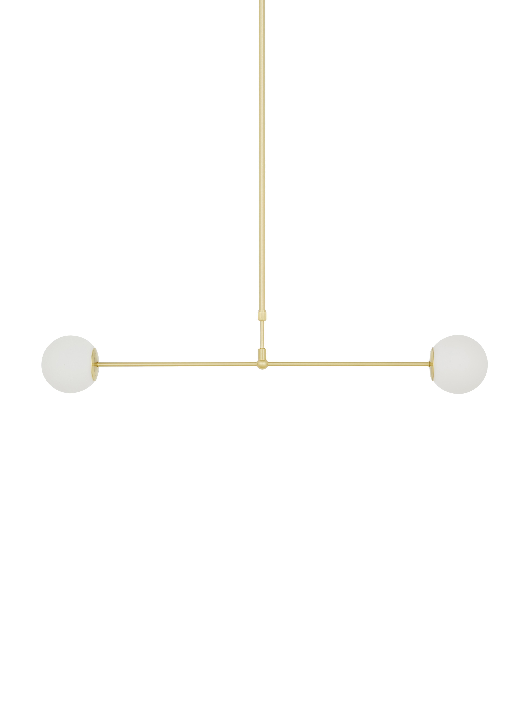 Lampada a sospensione Moon, Paralume: Vetro, Baldacchino e rilegatura: ottone spazzolat paralume: bianco cavo: nero, Larg. 114 x Prof. 15 cm
