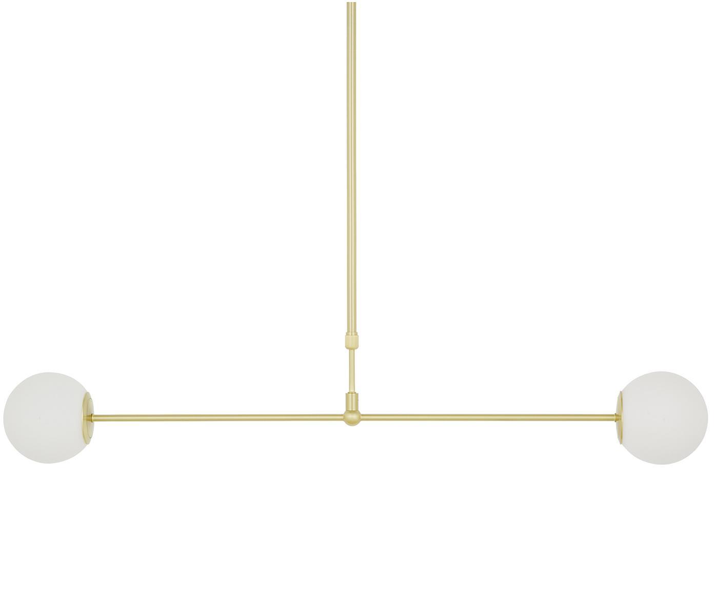 Hanglamp Moon, Baldakijn en fitting: geborsteld messingkleurig. Lampenkappen: wit. Snoer: zwart, B 114 x D 15 cm