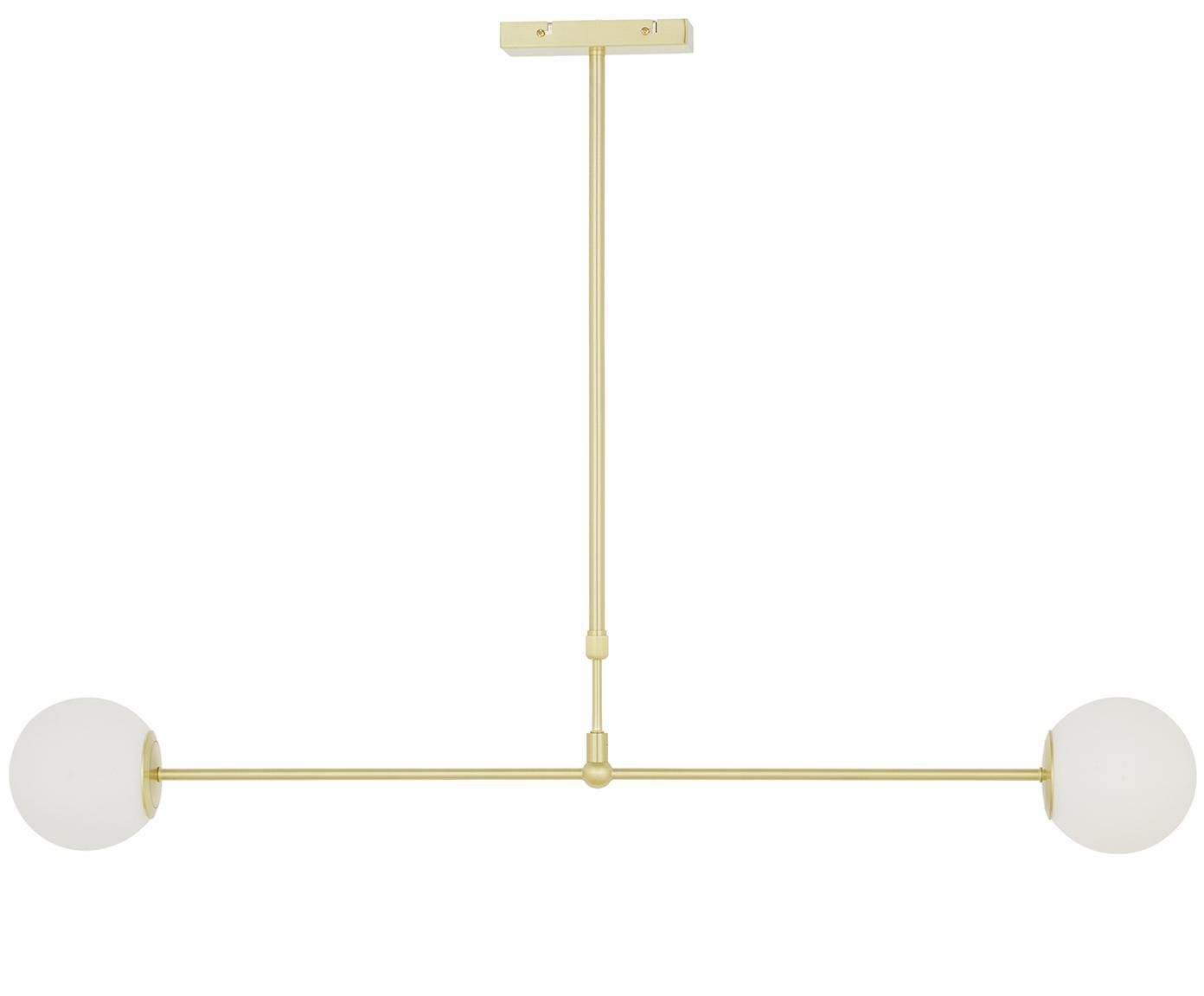 Lampa wisząca Moon, Osłona mocowania sufitowego i oprawa: mosiądz, szczotkowany Klosz: biały, S 114 x G 15 cm