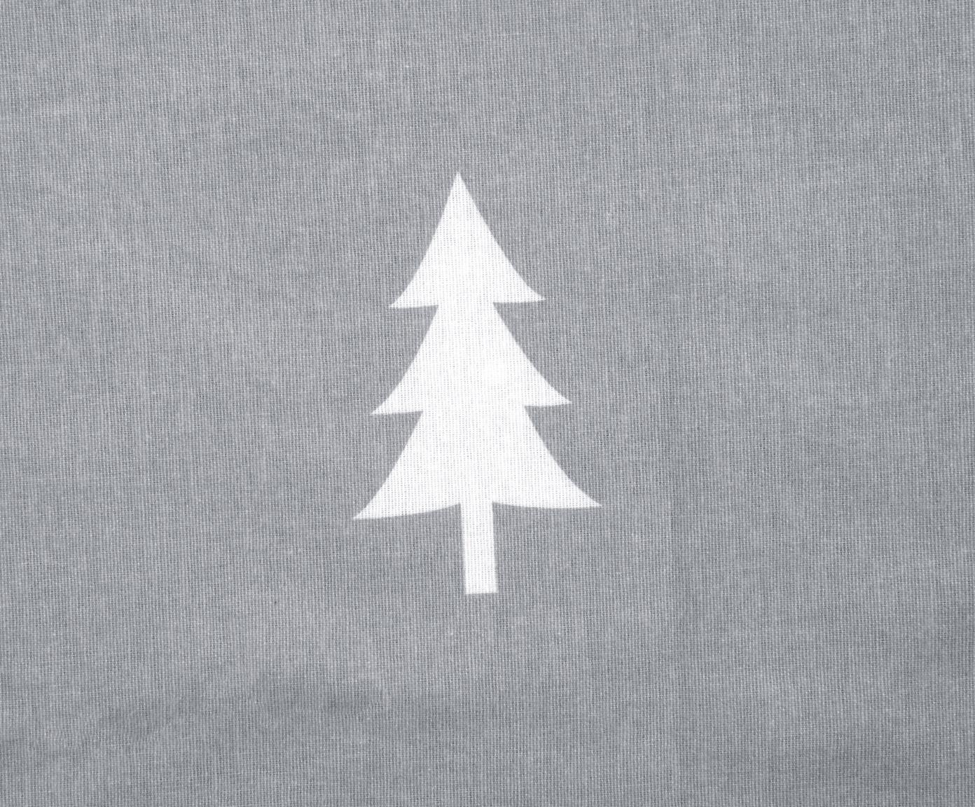 Flanell-Bettwäsche X-mas Tree mit Tannenbäumen, Webart: Flanell Flanell ist ein s, Dunkelgrau, Cremeweiß, 240 x 220 cm + 2 Kissen 80 x 80 cm