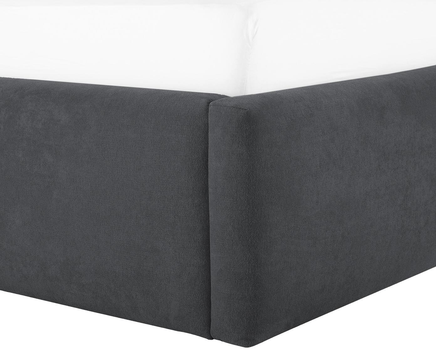 Polsterbett Star, Korpus: Massives Kiefernholz, Bezug: Polyester (Strukturstoff), Webstoff Dunkelgrau, 180 x 200 cm