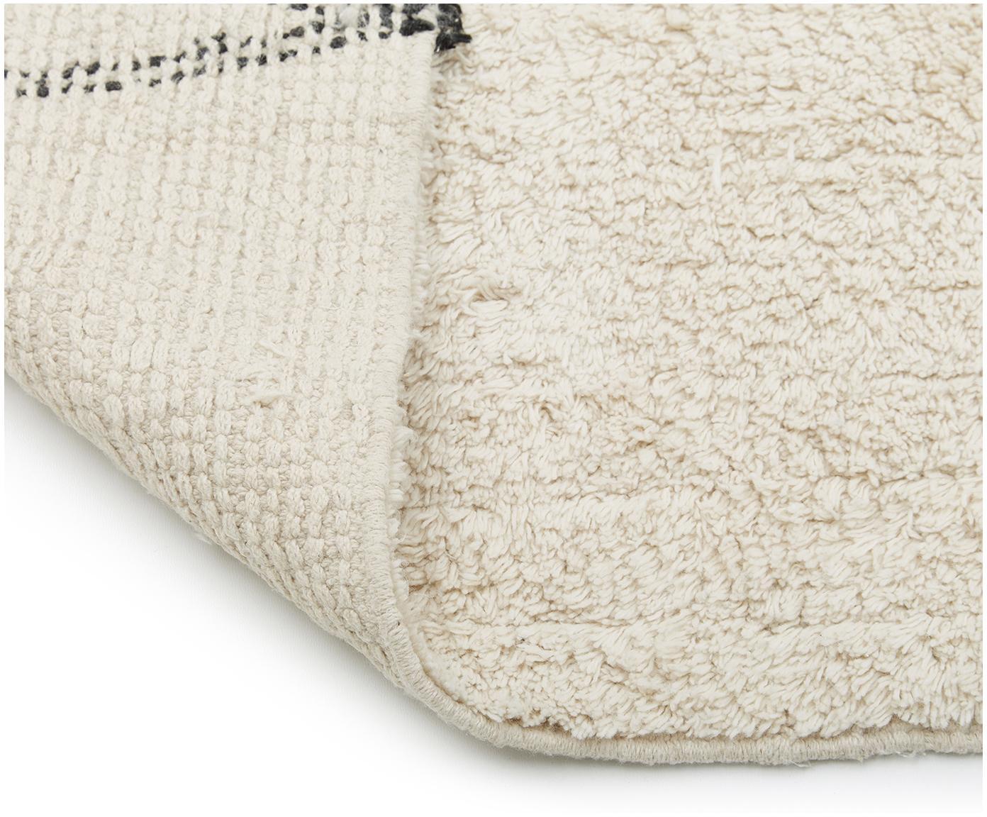 Ručne tkaný bavlnený koberec Asisa, Béžová, čierna