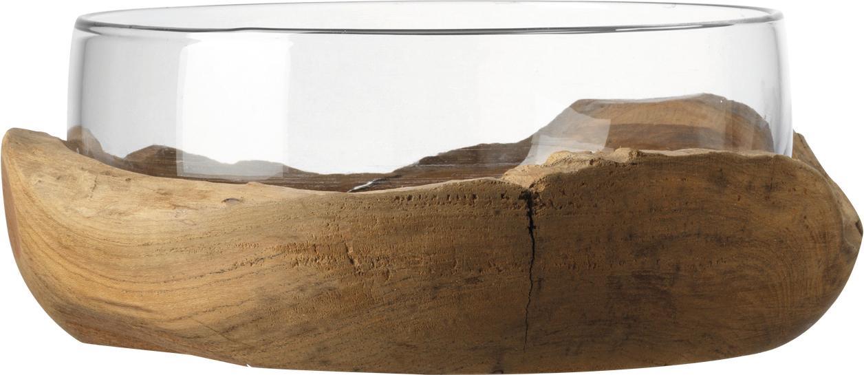 Handgemaakte decoratieve schaal Terra met teakhouten houder, Voetstuk: teakhout, Transparant, Ø 28 x H 11 cm