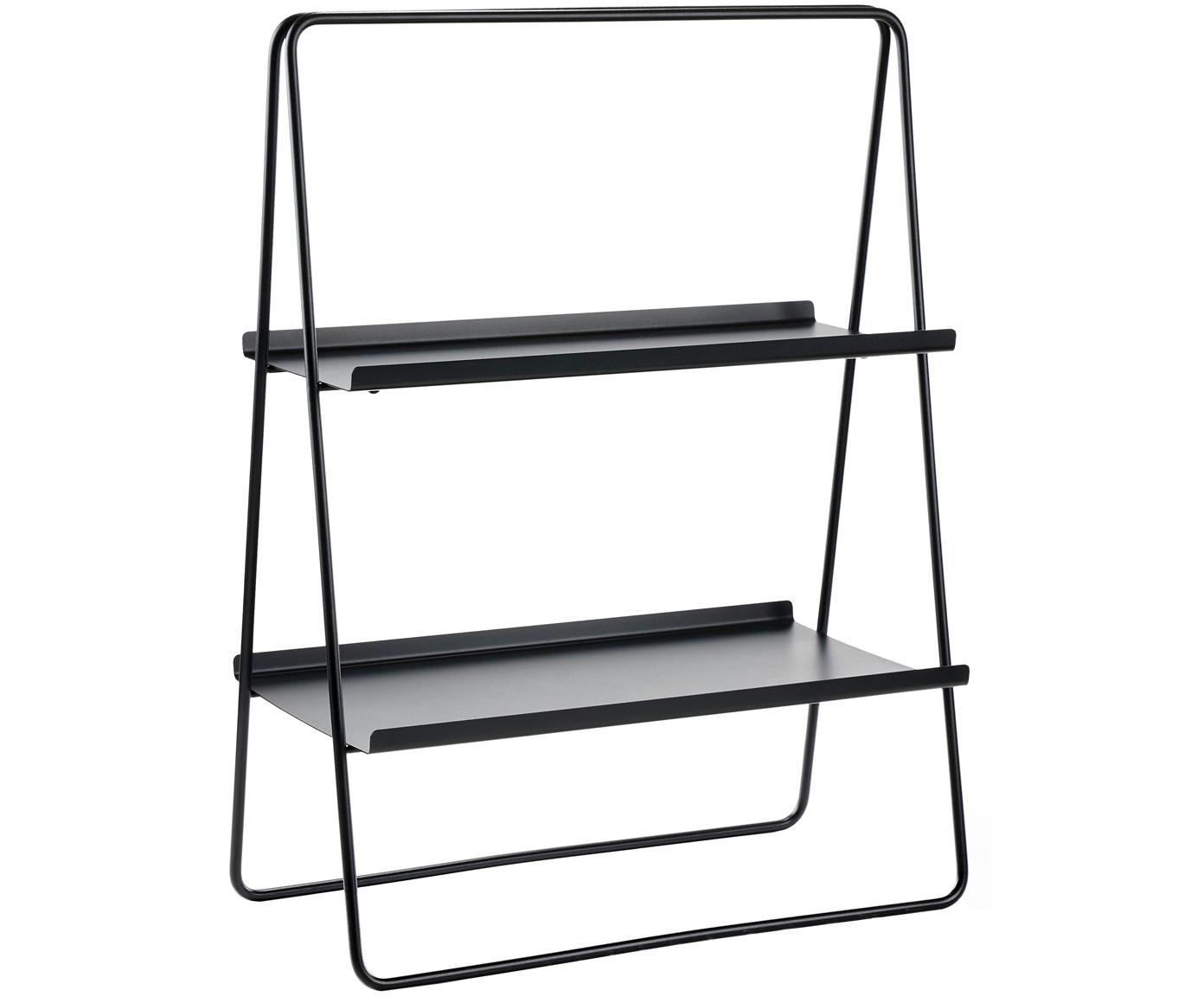 Leiter-Regal Aguina, Stahl, lackiert, Schwarz, 53 x 75 cm