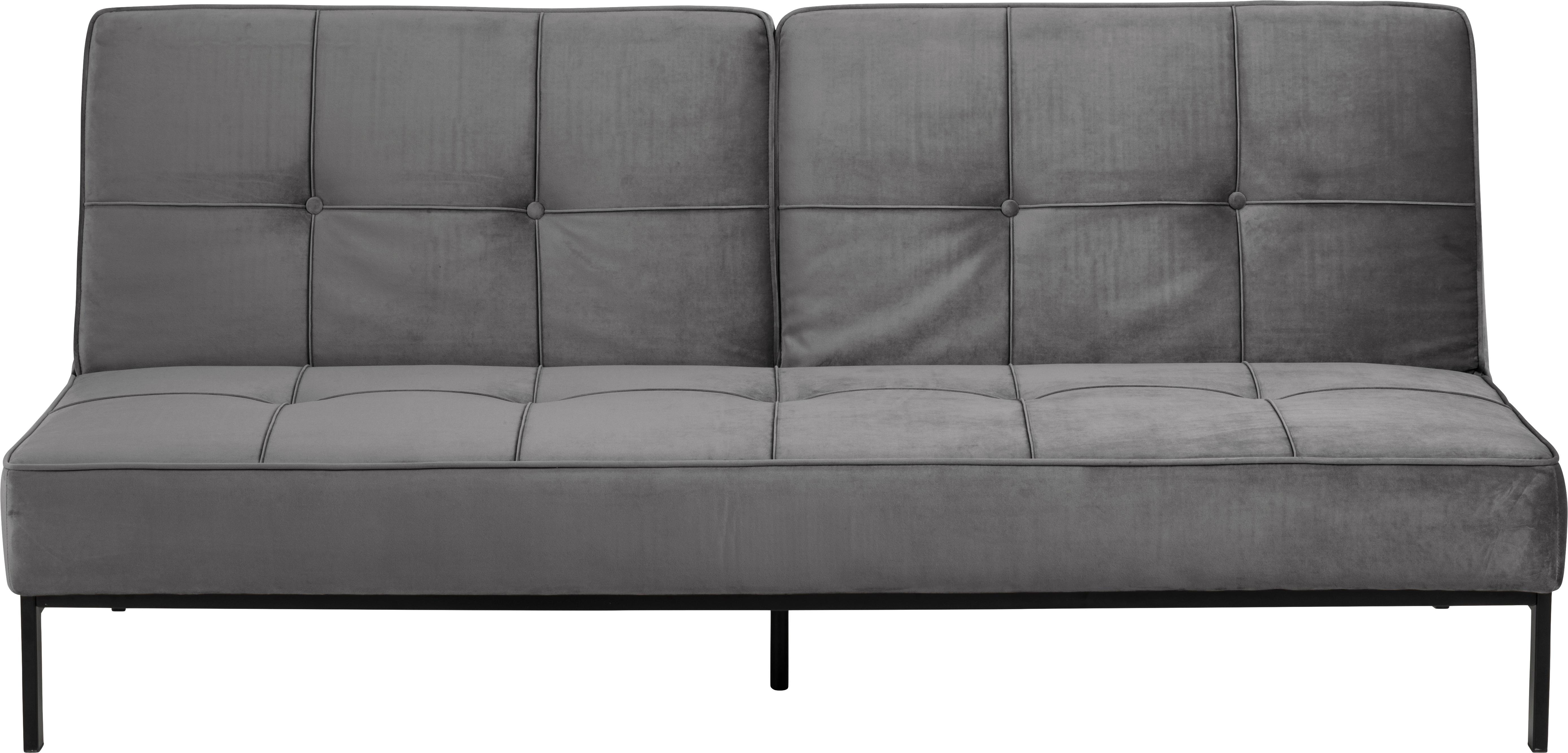 Sofá cama de terciopelo Perugia, Tapizado: terciopelo de poliéster 2, Patas: metal, pintado, Terciopelo gris oscuro, An 198 x F 95 cm