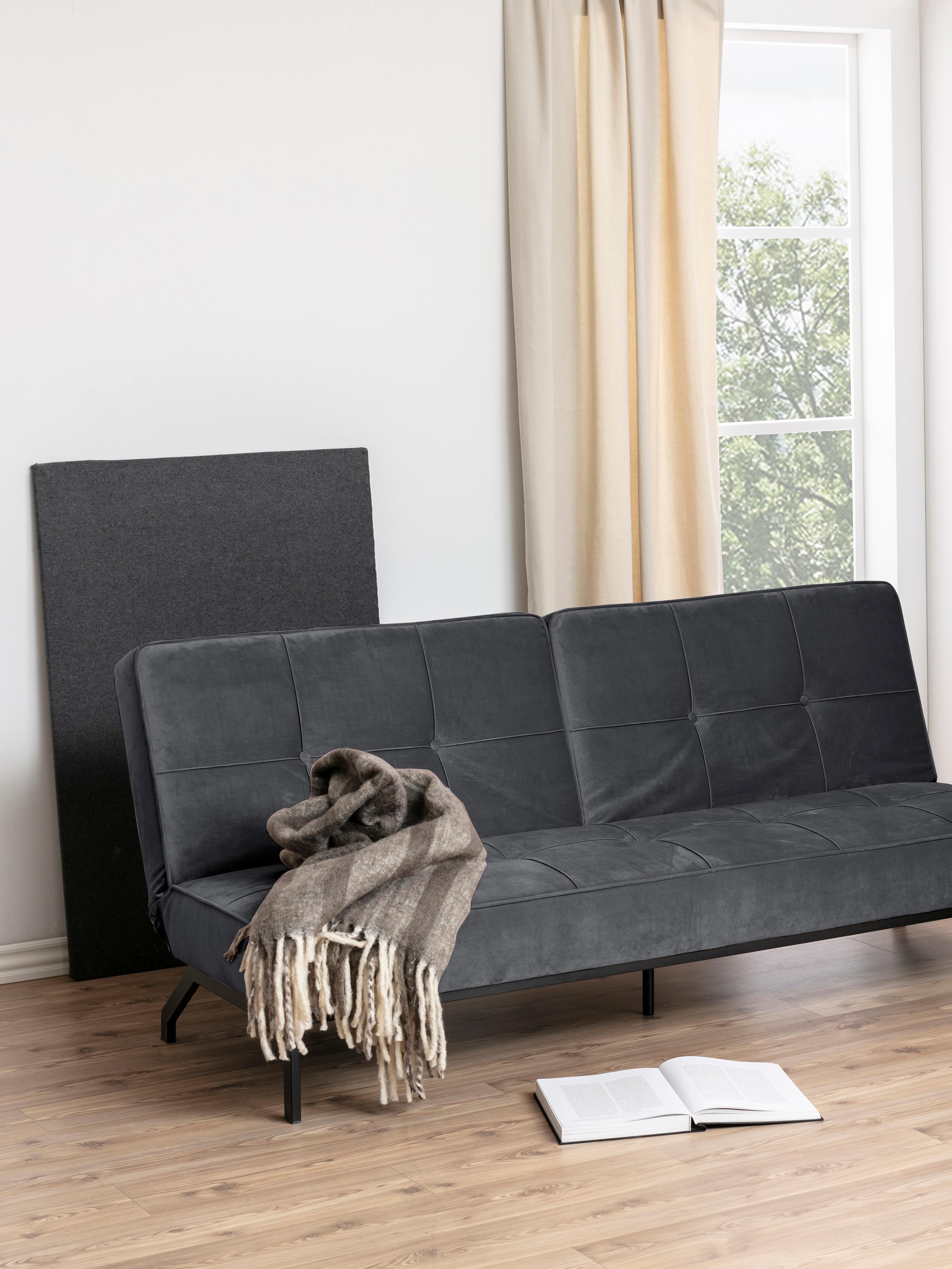 Samt-Schlafsofa Perugia in Dunkelgrau, Bezug: Polyester Der hochwertige, Samt Dunkelgrau, B 198 x T 95 cm