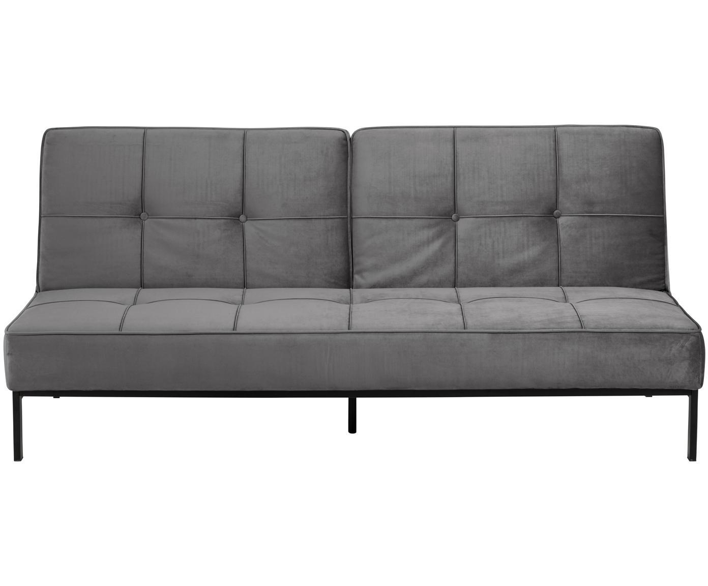 Samt-Schlafsofa Perugia, Bezug: Polyestersamt 25.000 Sche, Beine: Metall, lackiert, Samt Dunkelgrau, B 198 x T 95 cm