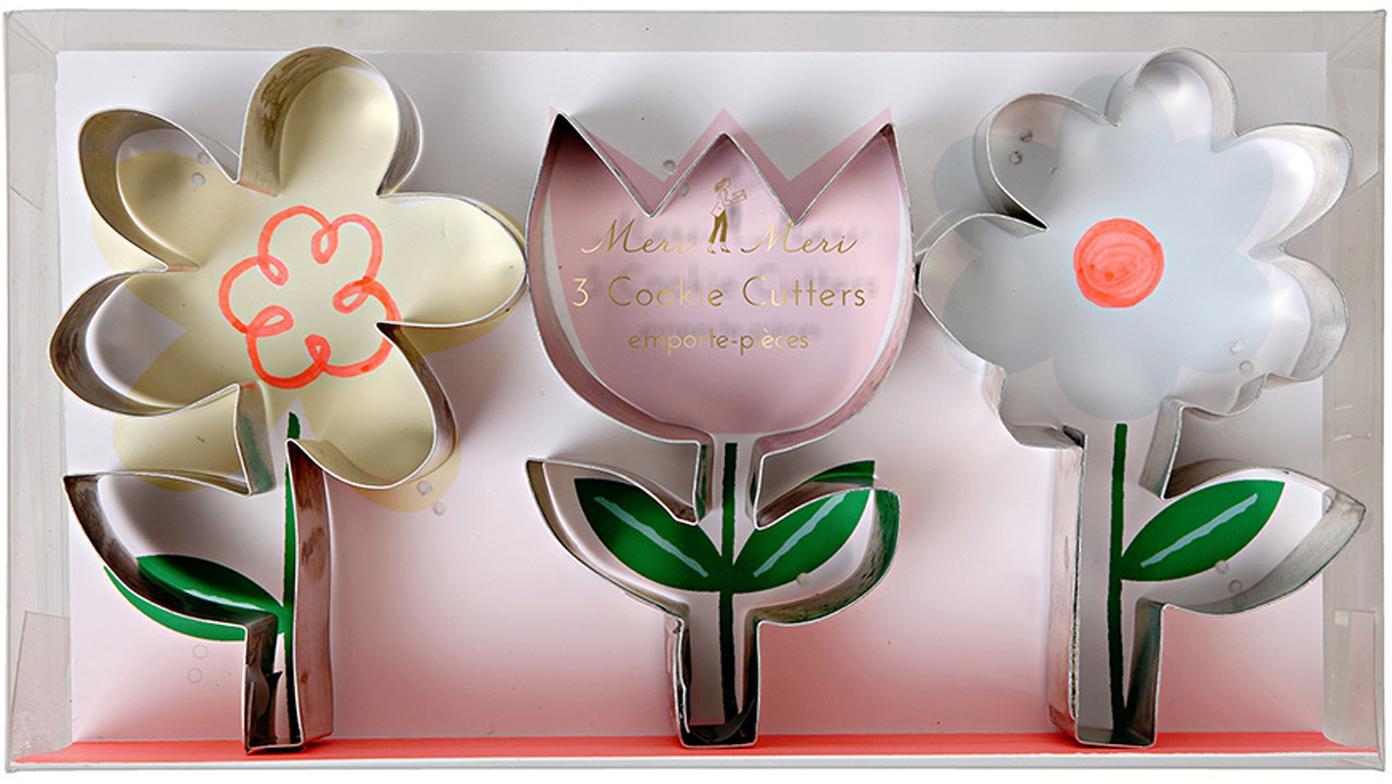 Bakvormenset Flower, 3-delig, Edelstaal, Edelstaalkleurig, 19 x 11 cm