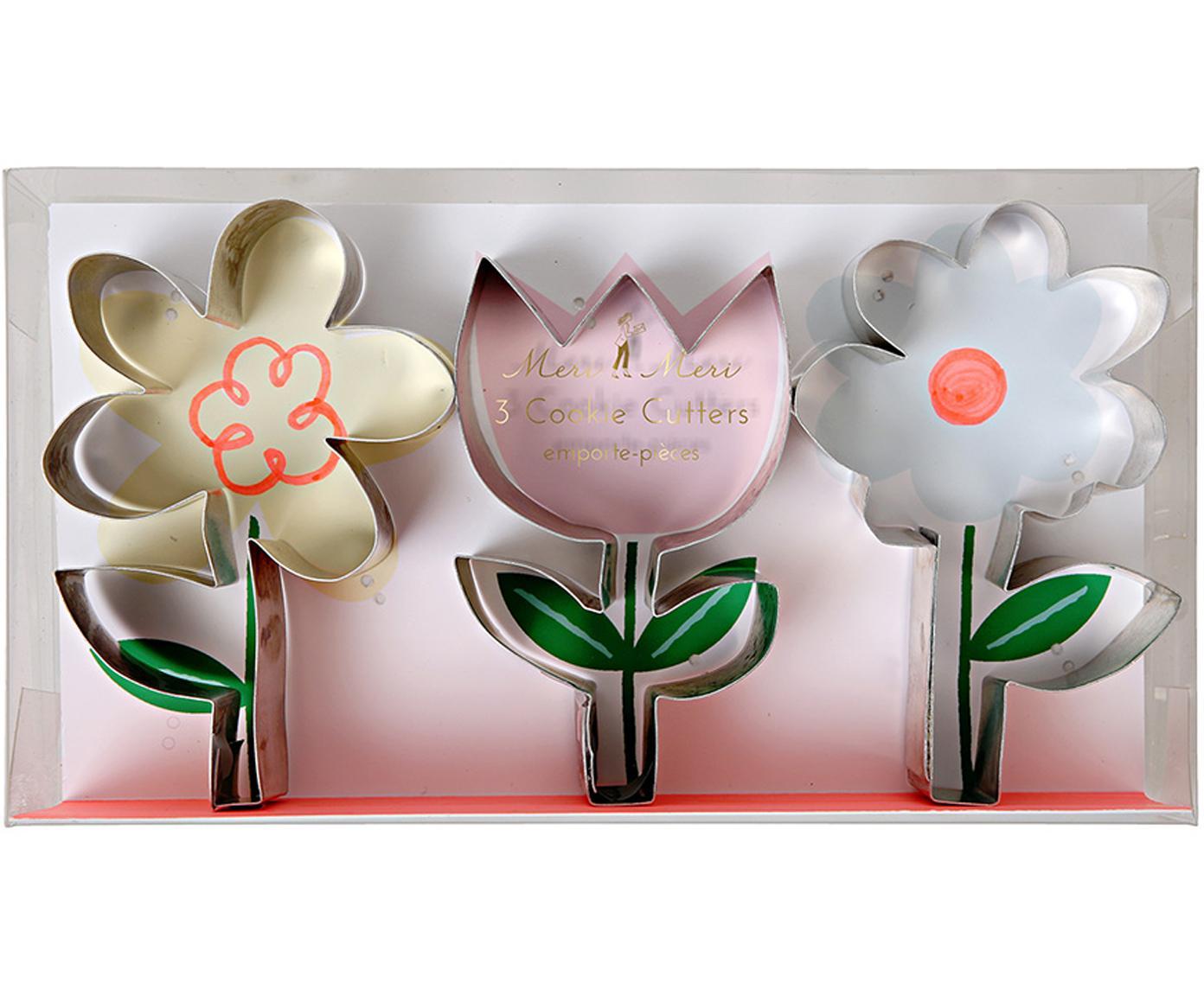 Komplet foremek do ciasteczek Flower, 3 elem., Stal szlachetna, Stal szlachetna, S 19 x W 11 cm