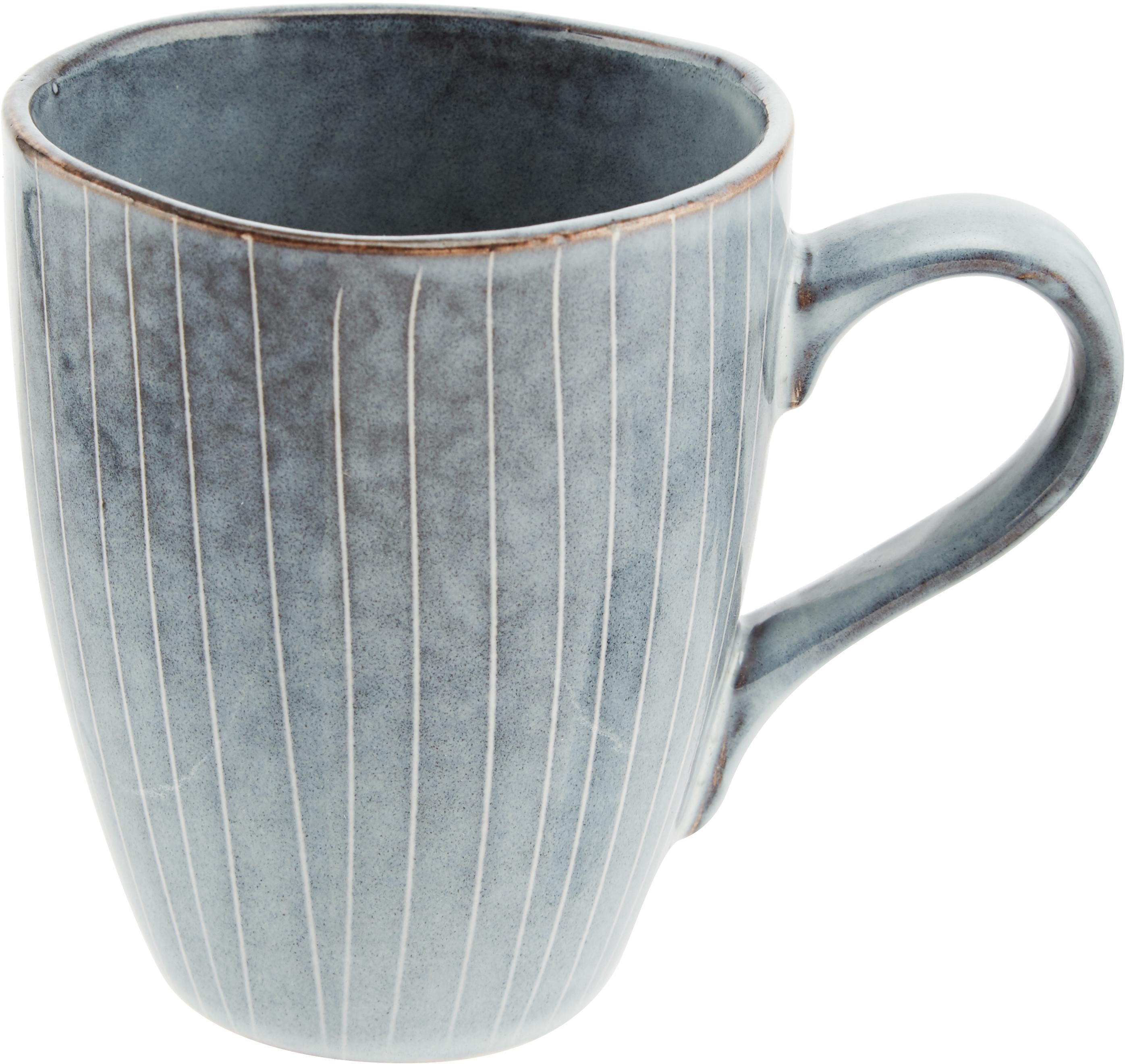 Tazza in terracotta fatta a mano Nordic Sea 6 pz, Terracotta, Grigio e tonalità blu, Ø 8 x Alt. 10 cm