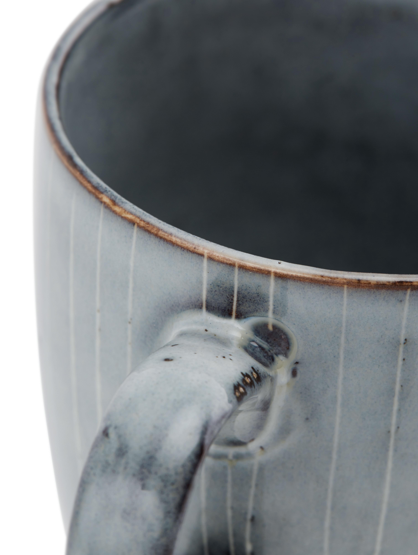 Handgemachte Tassen Nordic Sea aus Steingut, 6 Stück, Steingut, Grau- und Blautöne, Ø 8 x H 10 cm