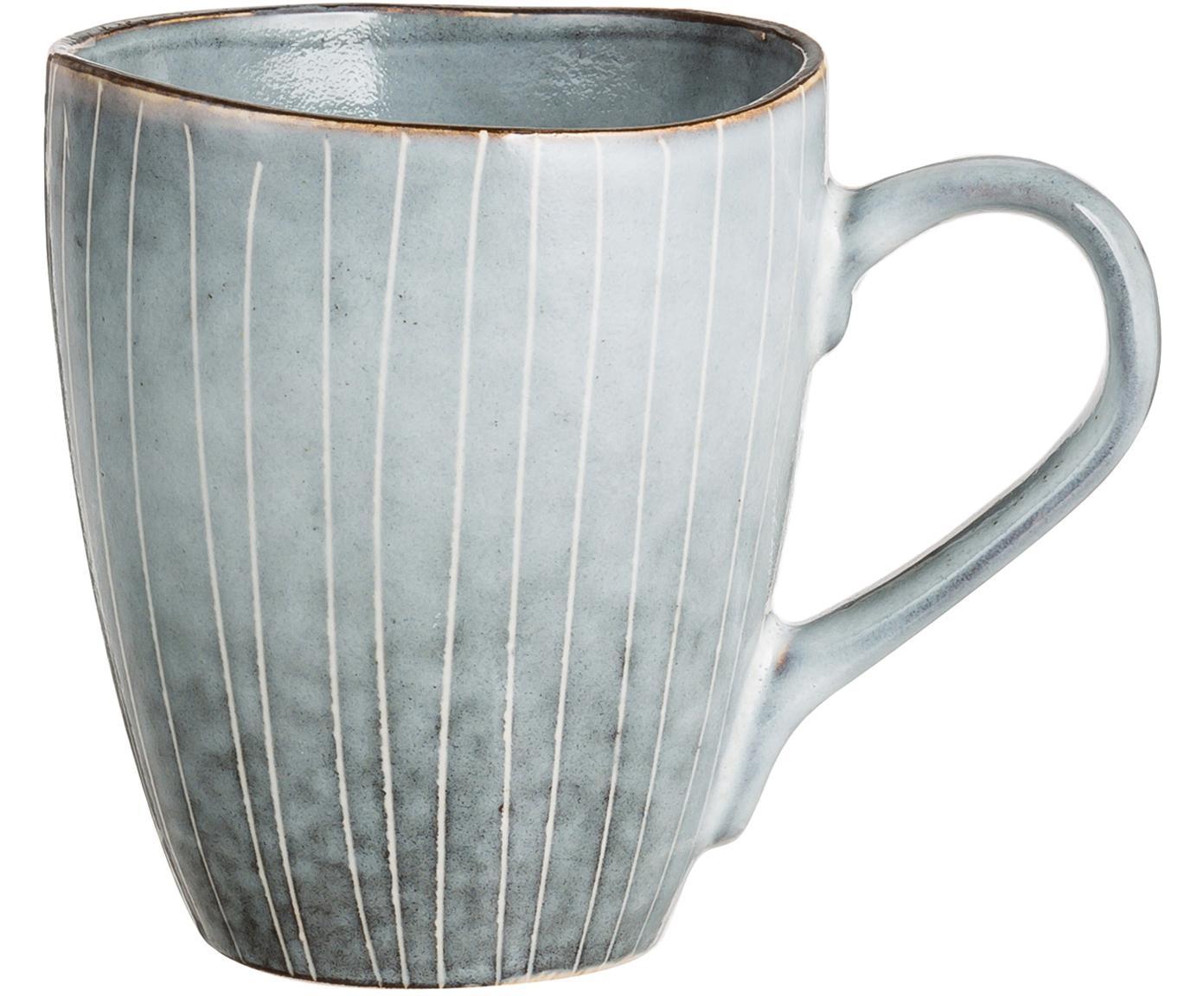 Tazas artesanales Nordic Sea, 6uds., Gres, Tonos grises y azules, Ø 8 x Al 10 cm