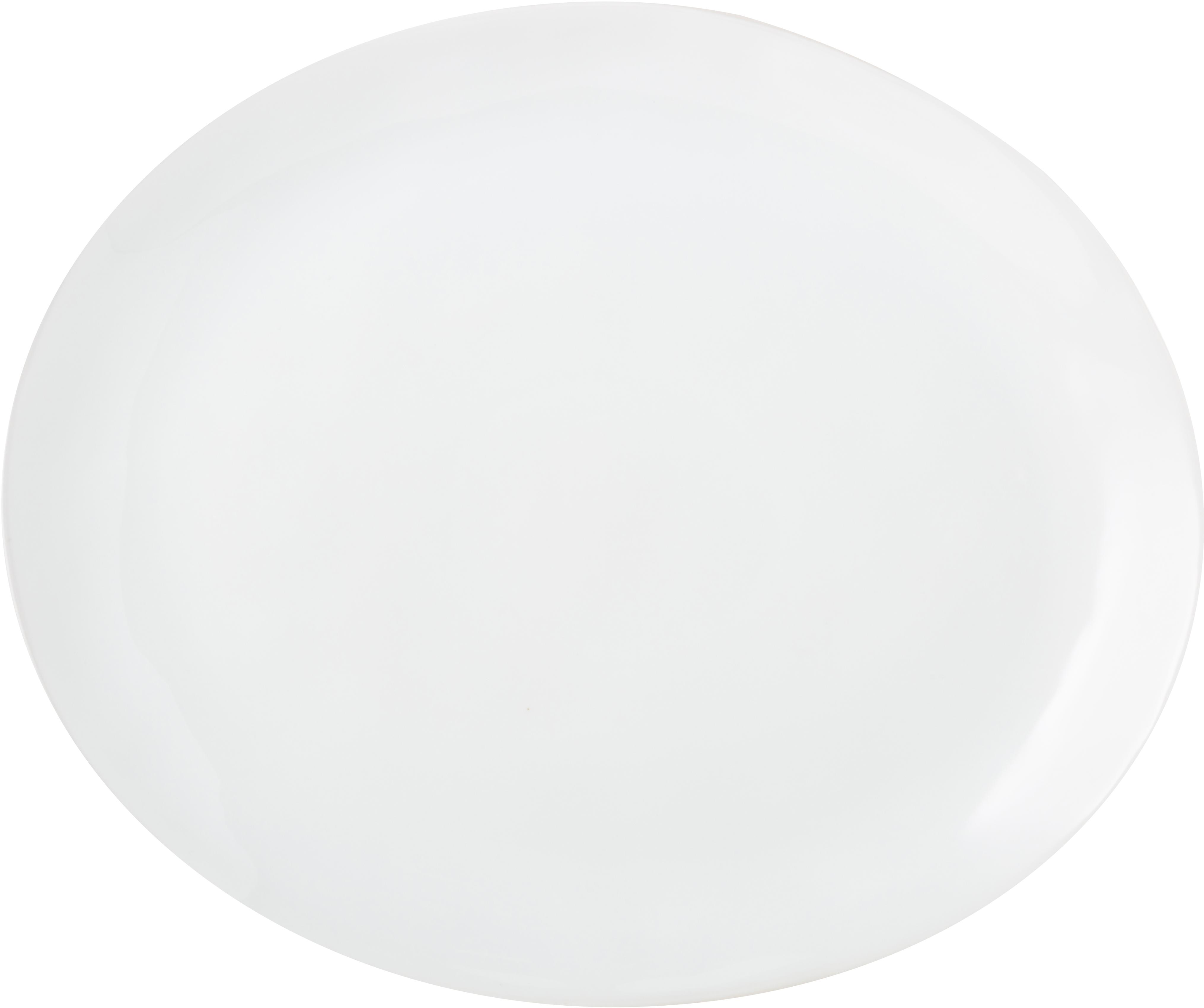Owalny talerz duży Porcelino, 4 szt., Porcelana o celowo nierównym kształcie, Biały, D 28 x S 24 cm