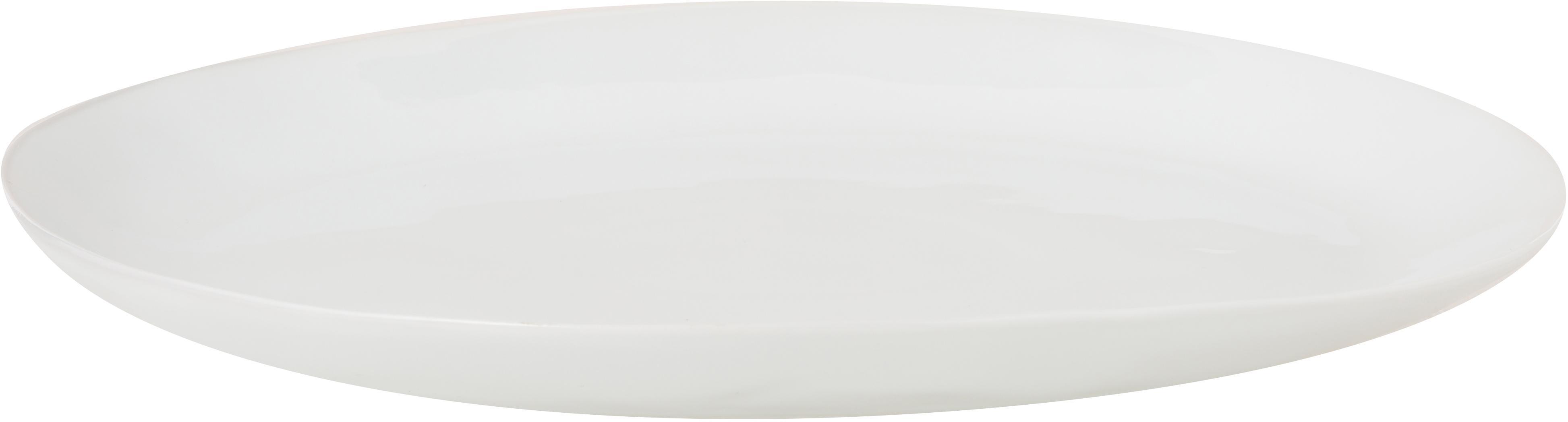 Ovale Speiseteller Porcelino mit unebener Oberfläche, 4 Stück, Porzellan, gewollt ungleichmäßig, Weiß, 24 x 28 cm