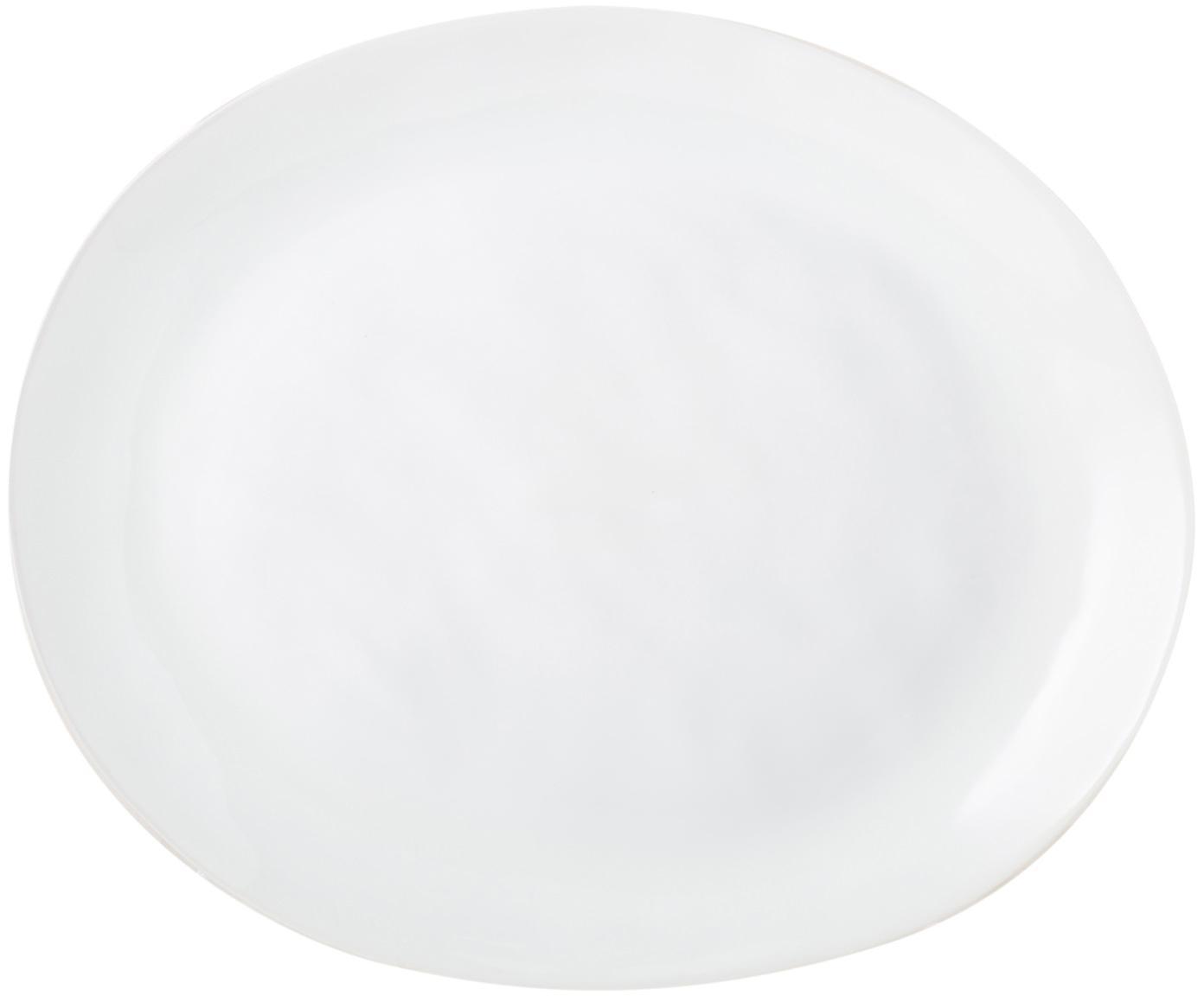 Dinerborden Porcelino, 4 stuks, Porselein, Wit, oneffen, 24 x 28 cm