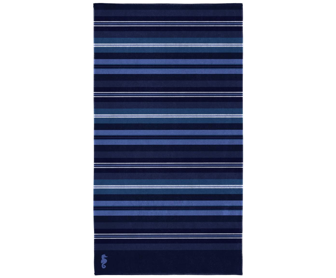 Toalla de playa Hampton, Velour (algodón) Gramaje medio, 420g/m², Tonos azul, An 100 x L 180 cm
