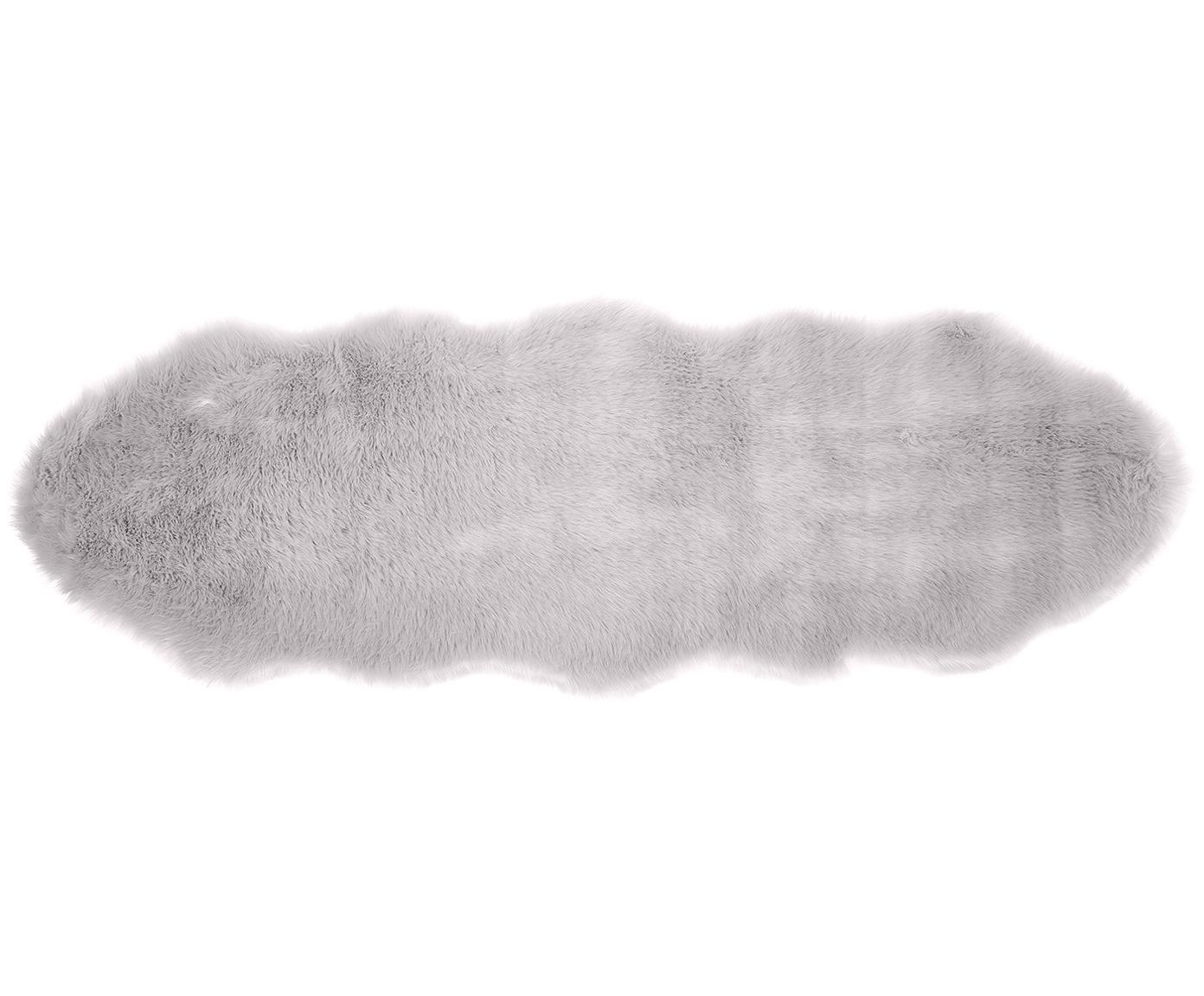Kunstfell-Teppich Mathilde, glatt, Flor: 65% Acryl, 35% Polyester, Rückseite: 100% Polyester, Hellgrau, 60 x 180 cm