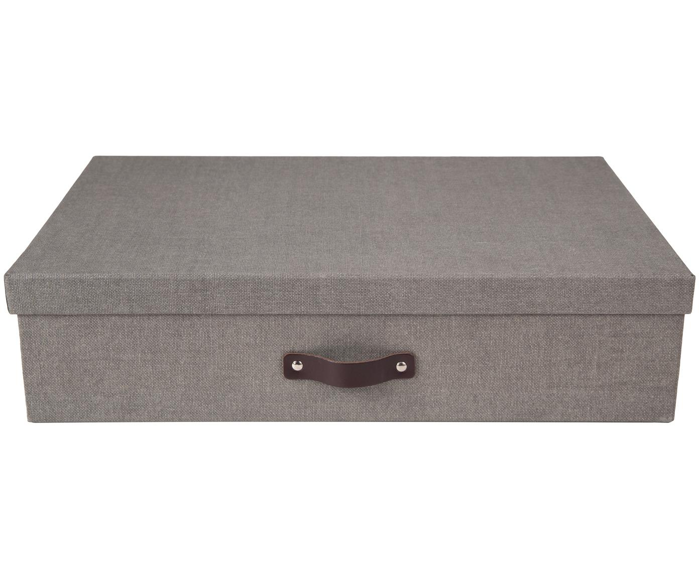 Pudełko do przechowywania Jakob II, Pudełko na zewnątrz: szary Pudełko wewnątrz: czarny Uchwyt: ciemnobrązowy, S 43 x W 11 cm