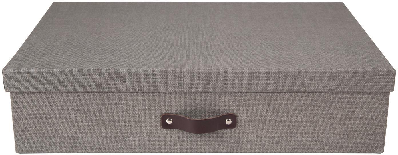 Opbergdoos Jakob II, Doos: massief linnenkarton, Doos buitenzijde: grijs. Doos binnenzijde: zwart. Handvat: donkerbruin, 43 x 11 cm