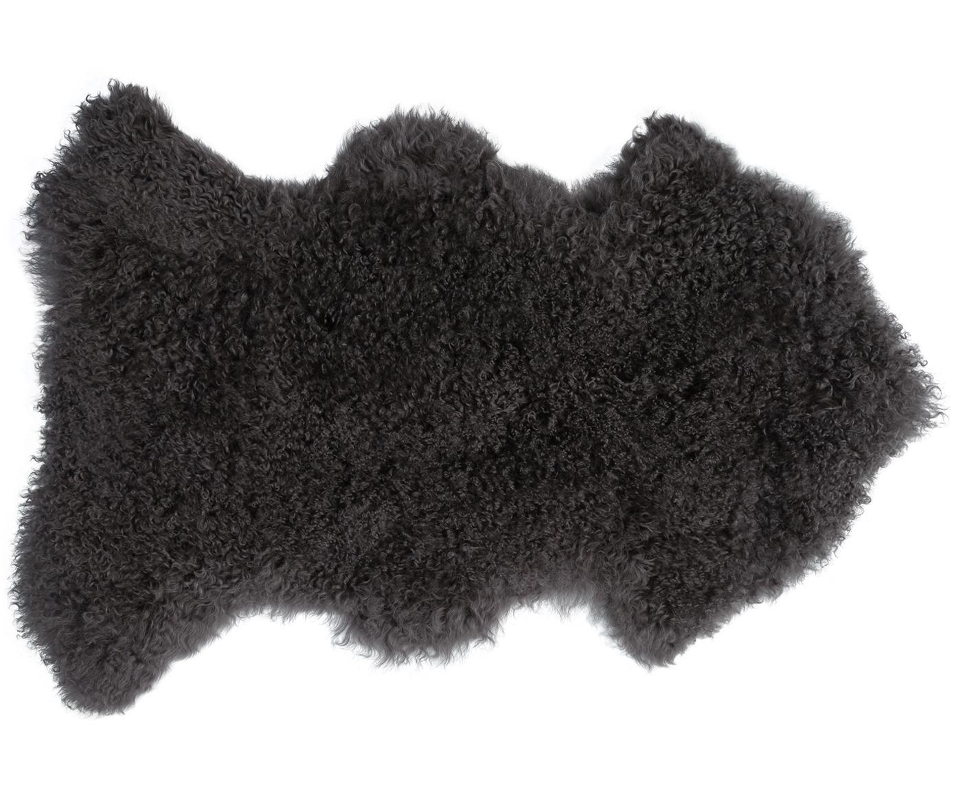 Langhaar-Lammfell Ella, gelockt, Vorderseite: Mongolisches Lammfell, Rückseite: Leder, Dunkelgrau, 50 x 80 cm