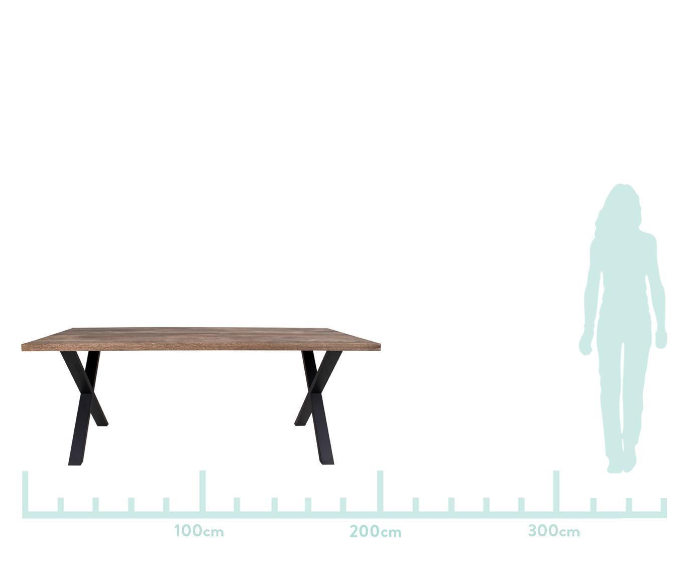 Esstisch Montpellier mit Massivholzplatte, Tischplatte: Massives Eichenholz, geöl, Gestell: Stahl, pulverbeschichtet, Räuchereiche, Schwarz, B 200 x T 95 cm