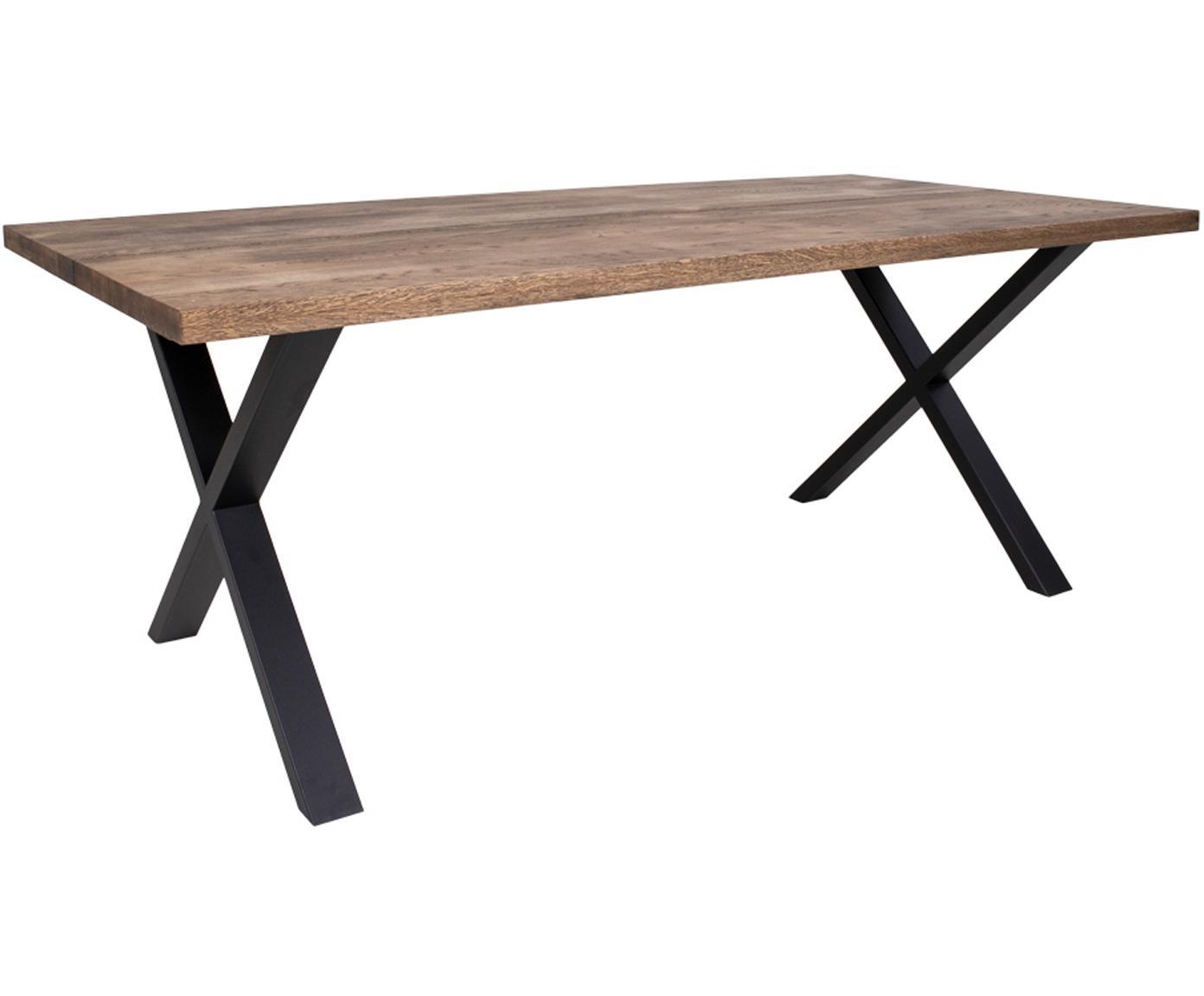 Eettafel Montpellier met massief houten blad, Tafelblad: massief eikenhout, geolie, Frame: gepoedercoat metaal, Gerookt eiken, zwart, B 200 x D 95 cm
