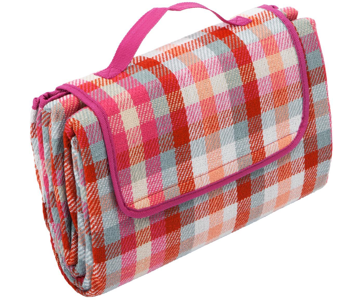 Picknick-Decke Clear, Vorderseite: Kunstfaser, Rückseite: Kunststoff, Rot, Weiß, Pink, Mint, Pfirsichfarben, 130 x 170 cm