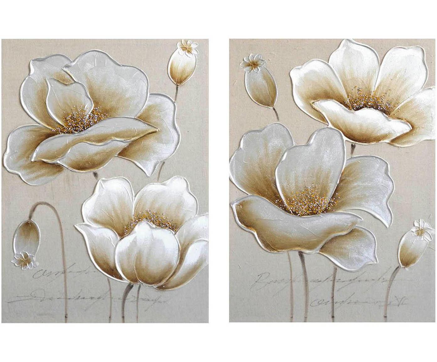 Set de cuadros sobre lienzo Bernadette, 2pzas., Lienzo, Multicolor, An 50 x Al 70 cm