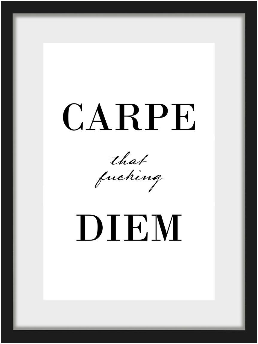 Impresión digital enmarcada Carpe Diem, Parte trasera: tablero de fibras de dens, Ilustración: negro, blanco Marco: negro, An 30 x Al 40 cm