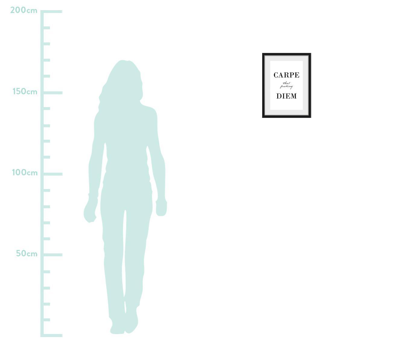 Gerahmter Digitaldruck Carpe Diem, Bild: Digitaldruck, Rahmen: Echtholzrahmen, Front: Acrylglas, Rückseite: Mitteldichte Holzfaserpla, Bild: Schwarz, Weiß<br>Rahmen: Schwarz, 30 x 40 cm