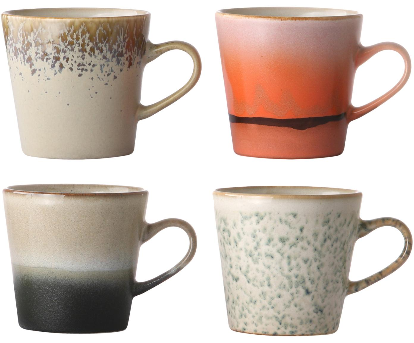 Set 4 tazze fatte a mano 70's, Ceramica, Multicolore, Ø 9 x Alt. 8 cm