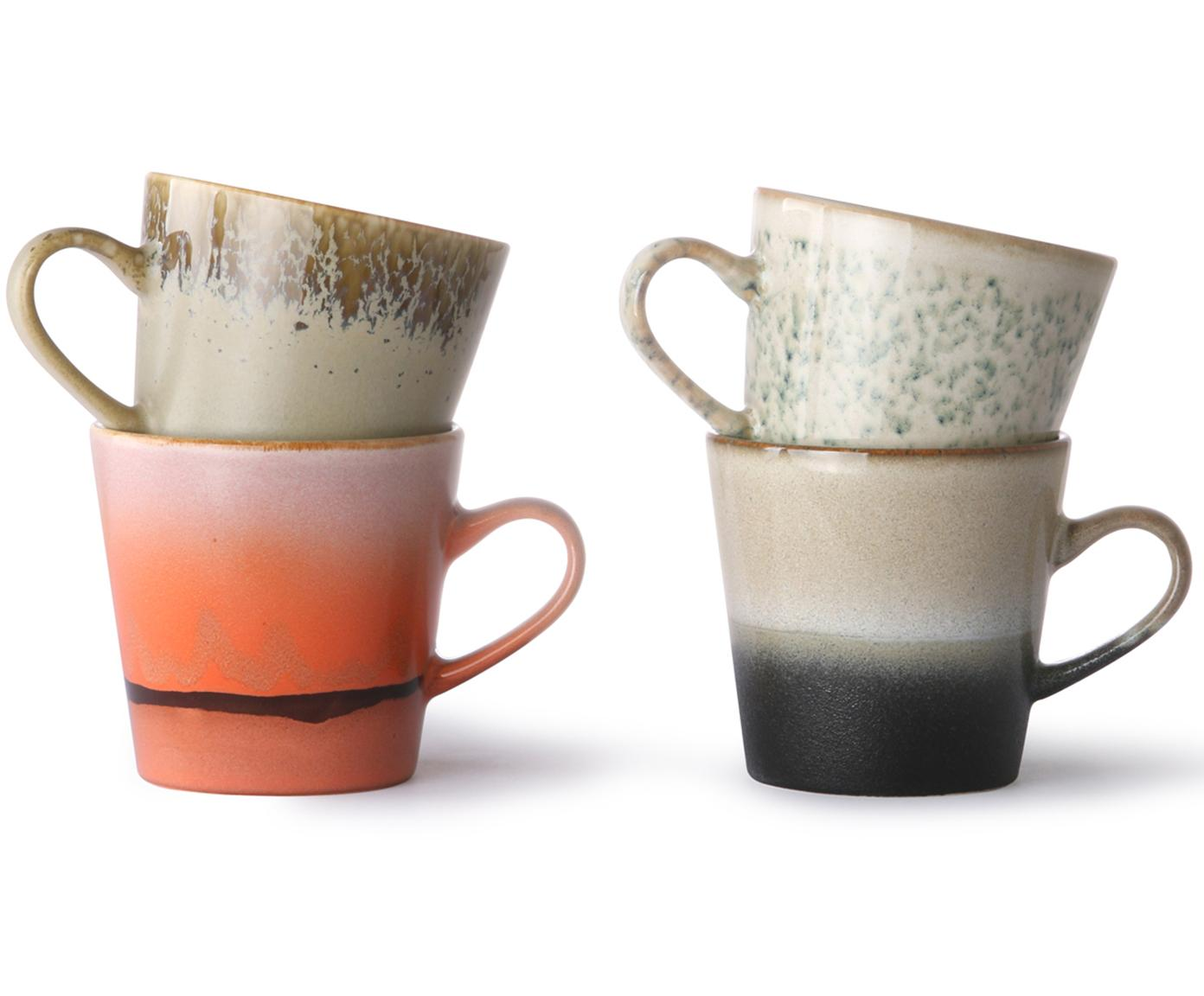 Handgemachte XS Tassen 70's im Retro Style, 4er-Set, Keramik, Mehrfarbig, Ø 9 x H 8 cm