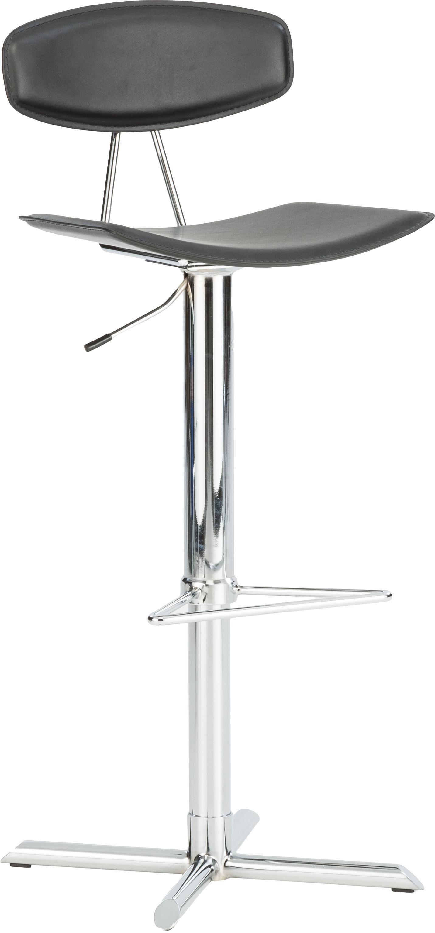Sedia da bar Oulu, Rivestimento: pelle, rilegato, Gambe: metallo, cromato, Nero, metallo, cromato, L 43 x A 103 cm