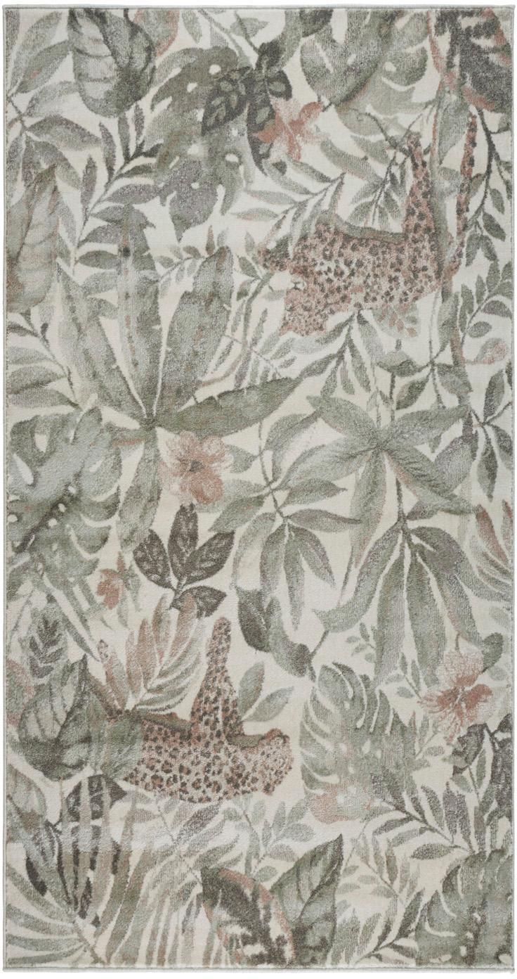 Vloerkleed Sambre met tropische print, Polypropyleen, Groen, koperbruin, beige, B 80 x L 150 cm (maat XS)